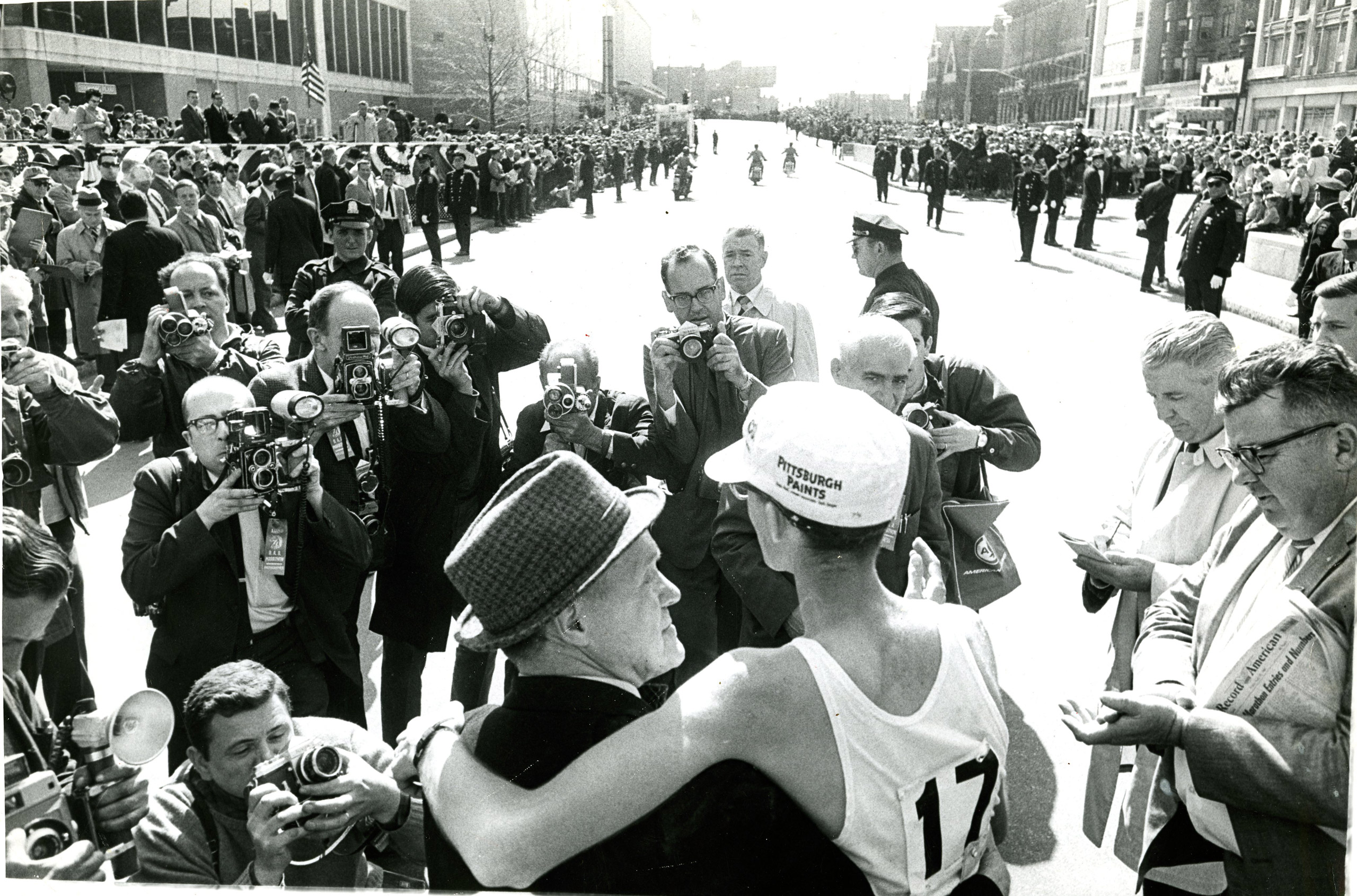 Amby Burfoot, right, and Jock Semple at the finish line of the Boston Marathon, April 19, 1968.