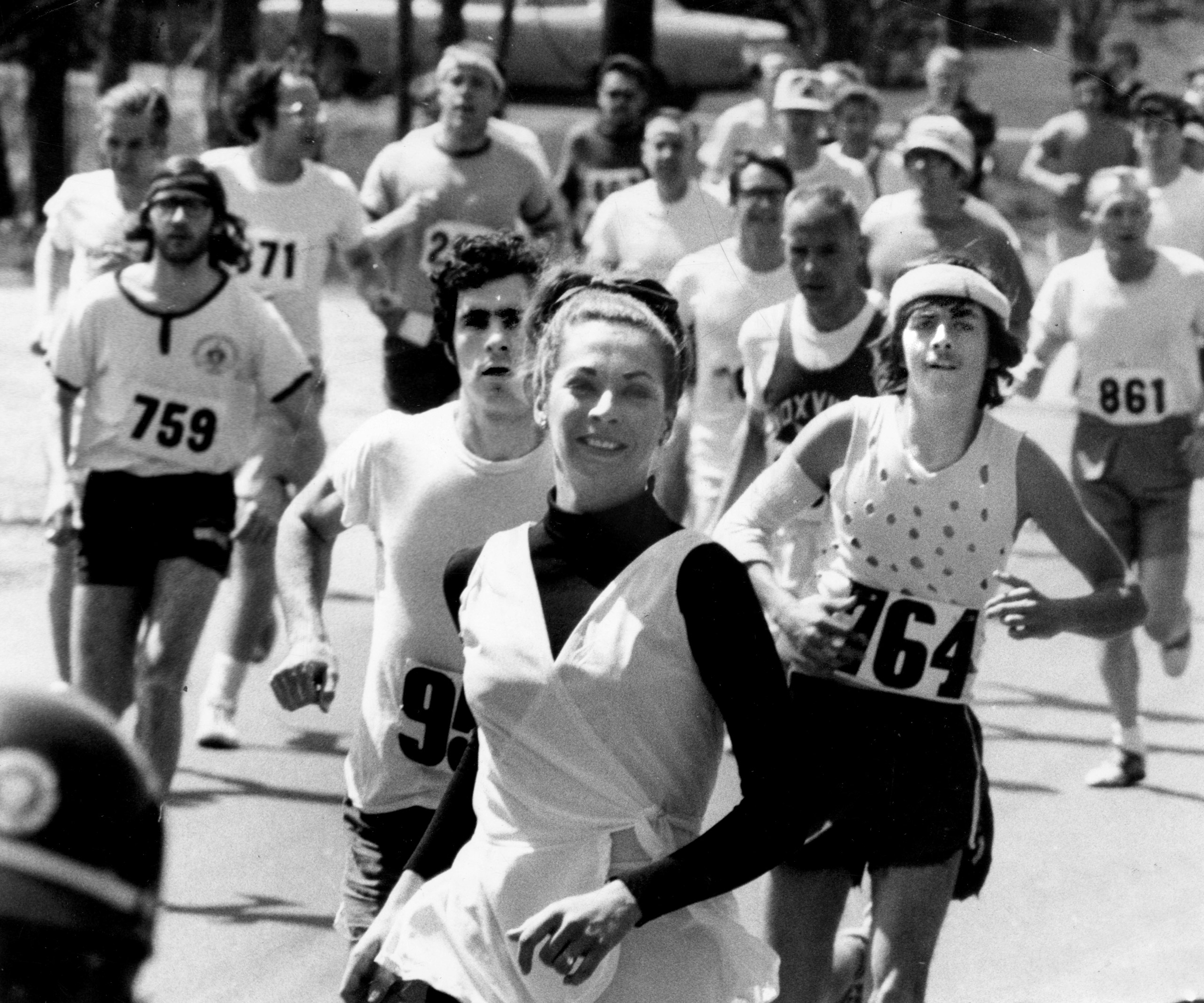 Kathy Switzer runs in the Boston Marathon on April 19, 1971.