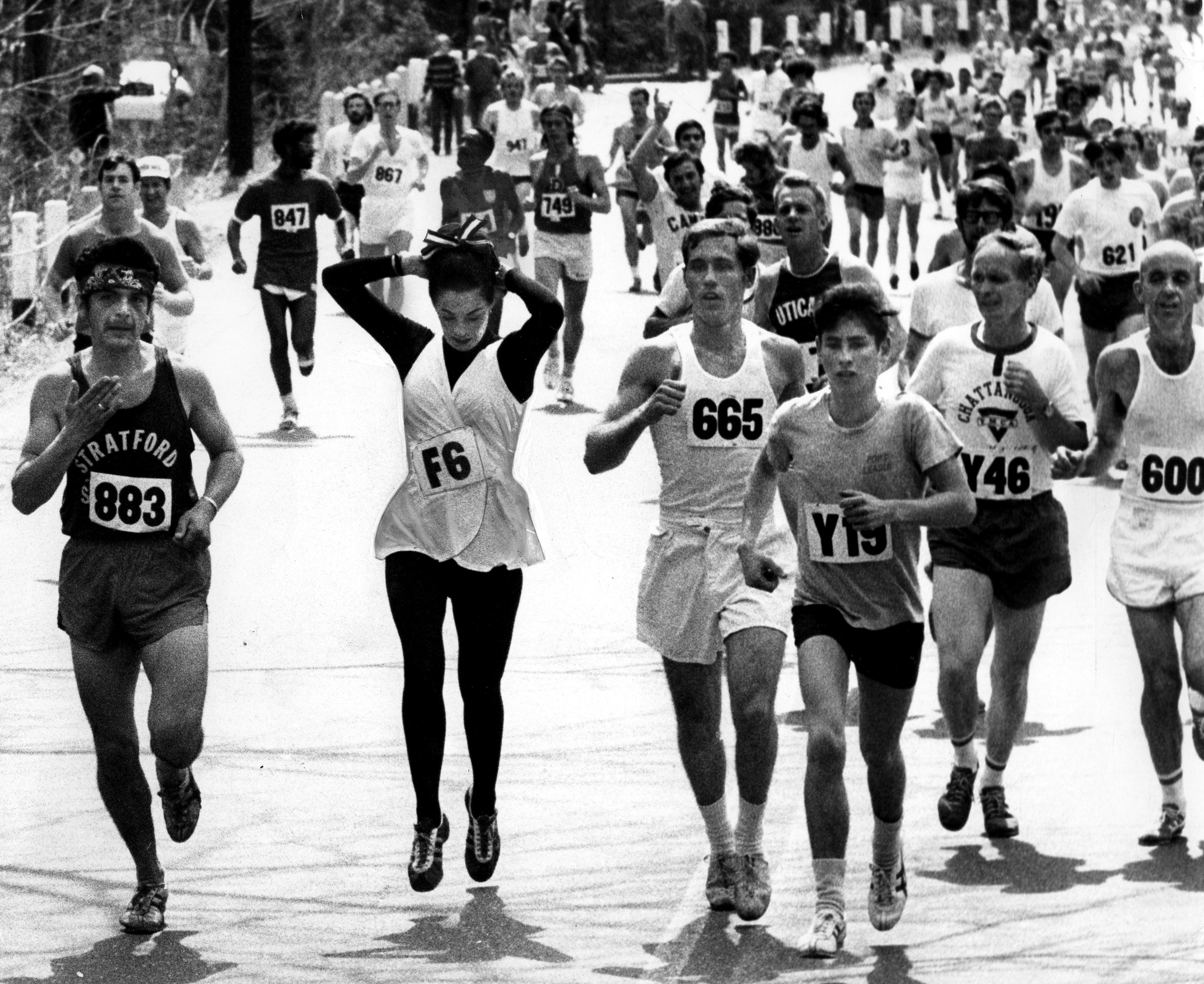 Kathy Switzer Miller running the Boston Marathon on April 17, 1972.