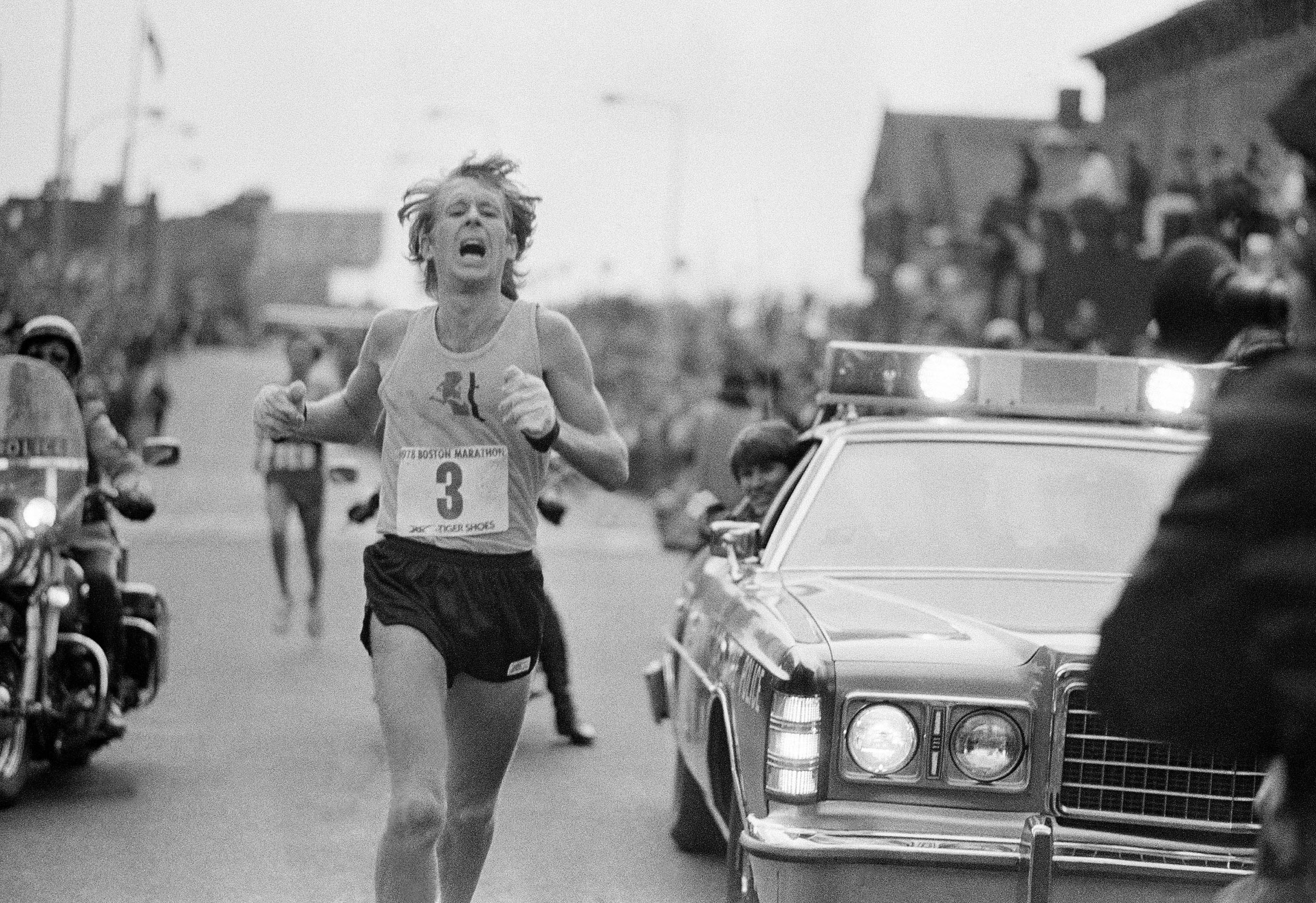 Bill Rodgers, of Melrose, Mass., crosses the finish line to win the Boston Marathon in Boston on April 17, 1978. Rodgers finished with an unofficial time of two hours, 10 minutes and 13 seconds. This was Rodgers' second marathon win.