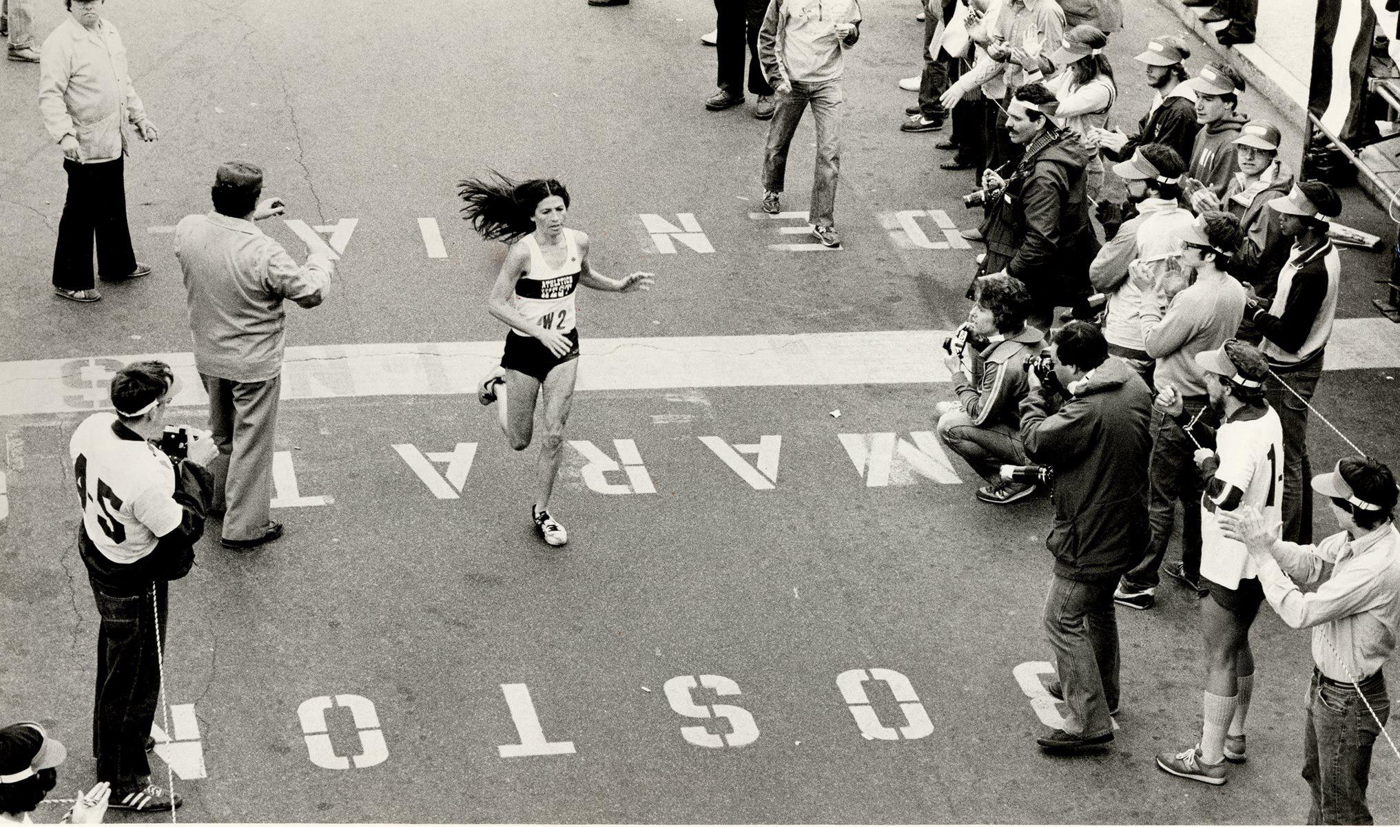 Patti (Lyons) Catalano in the Boston Marathon in 1981.