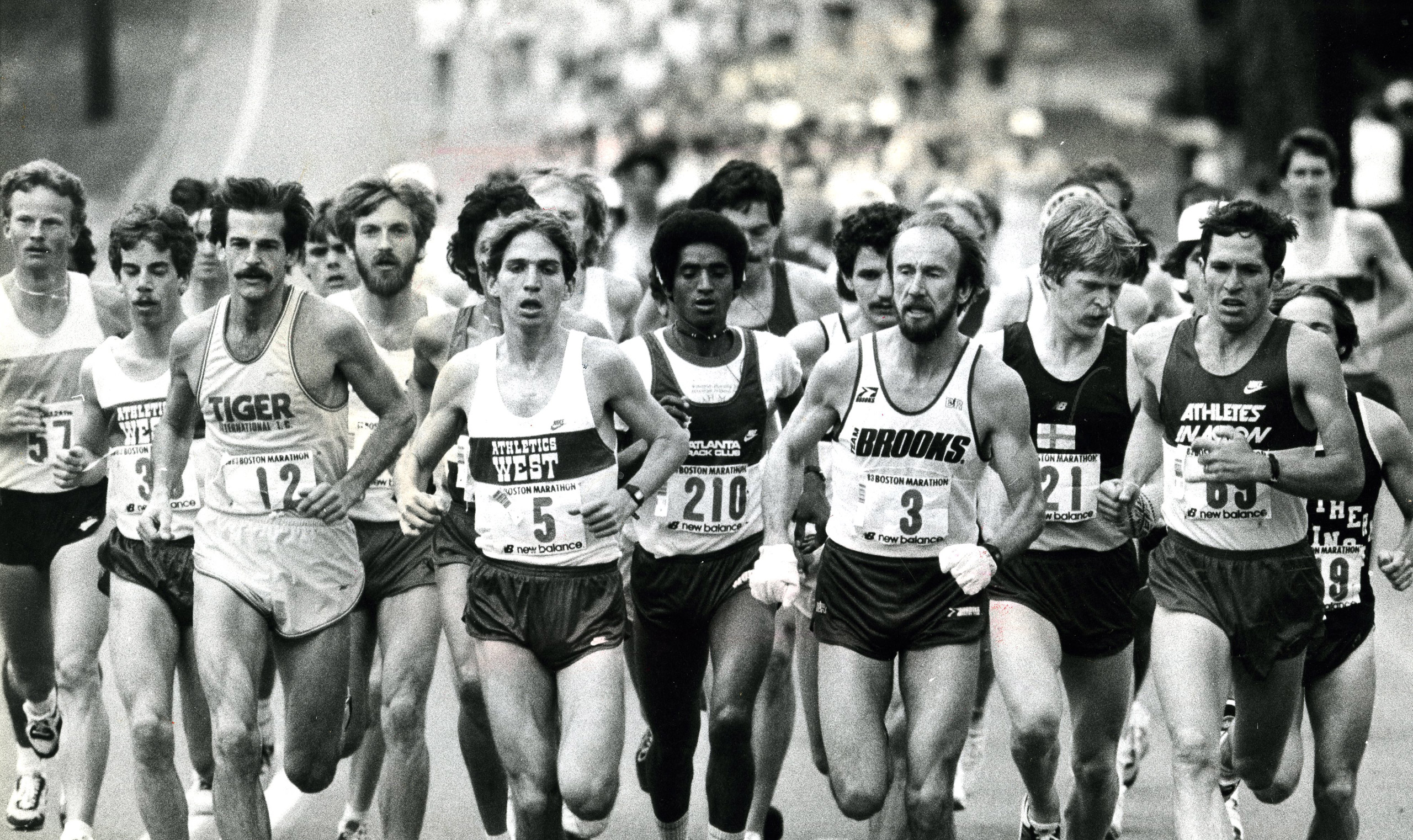 The pack at the start of the 1983 race in Hopkinton. Grey Meyer, the eventual winner, led wearing number 3. The top five finishers were all Americans: Ron Tabb was second, Benji Durden, third, Ed Mendoza, fourth and Chris Bunyan finished fifth.
