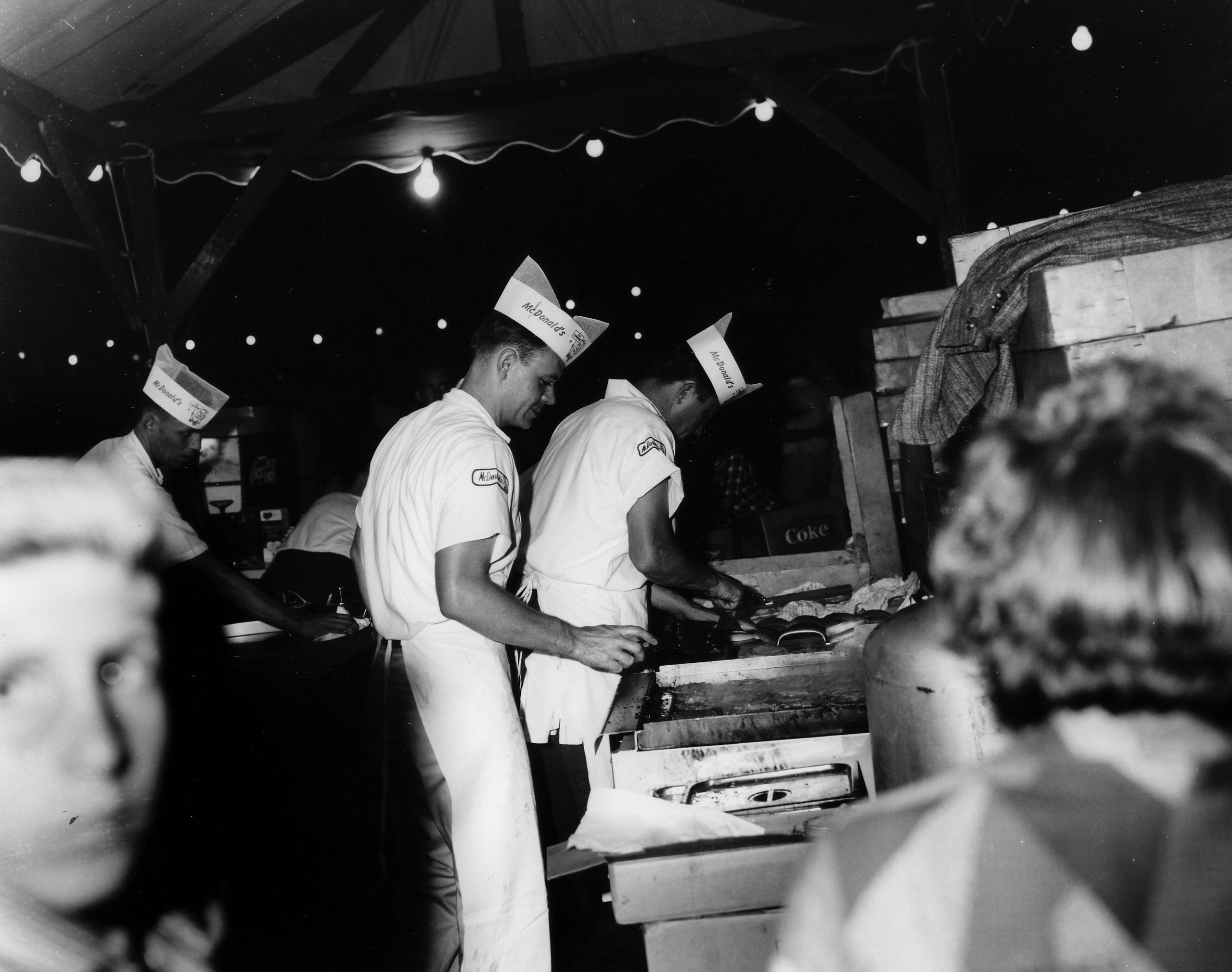 Future McDonald's Chairman Fred Turner, at the grill in 1956.