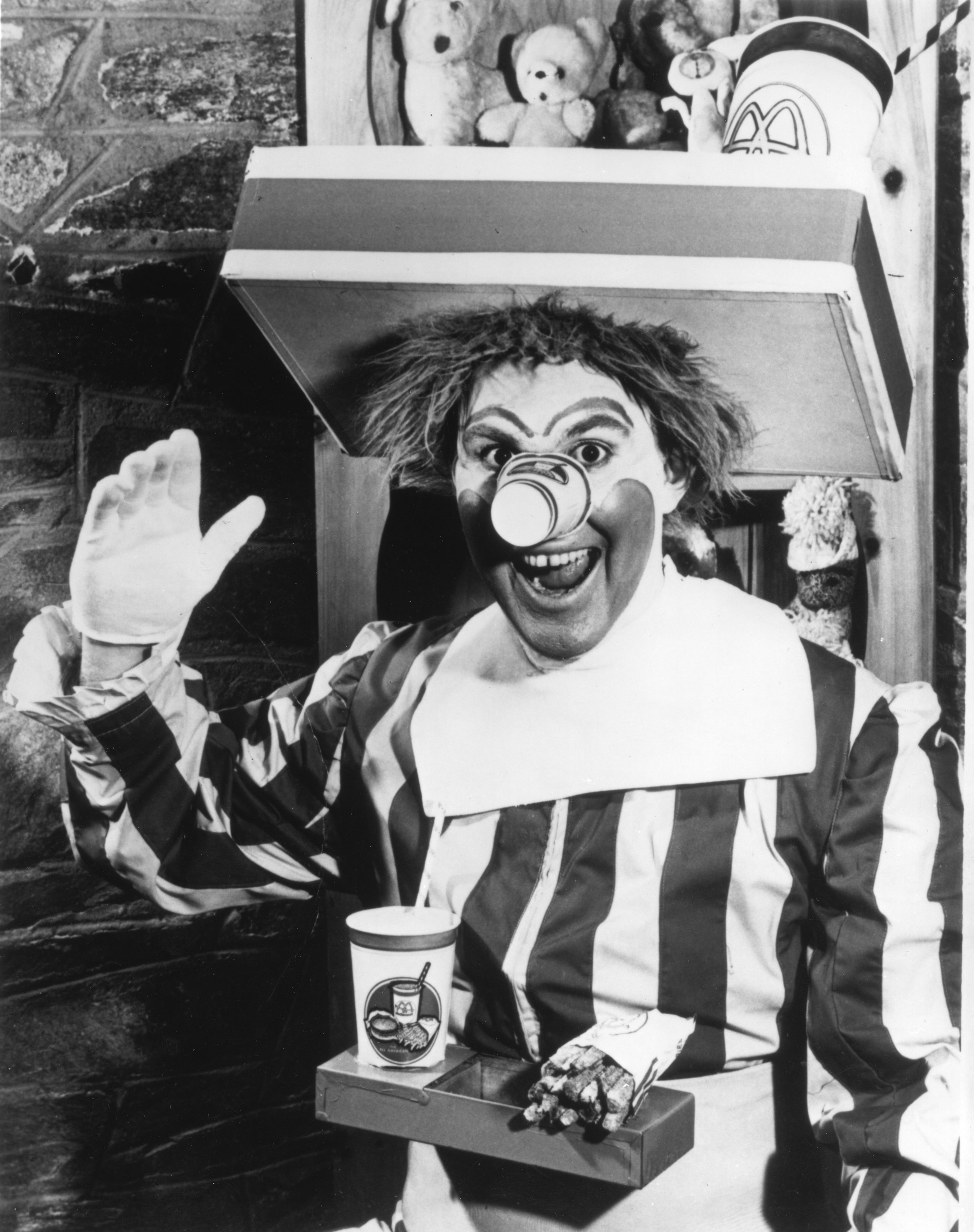 The first Ronald McDonald, played by Willard Scott, in 1963.