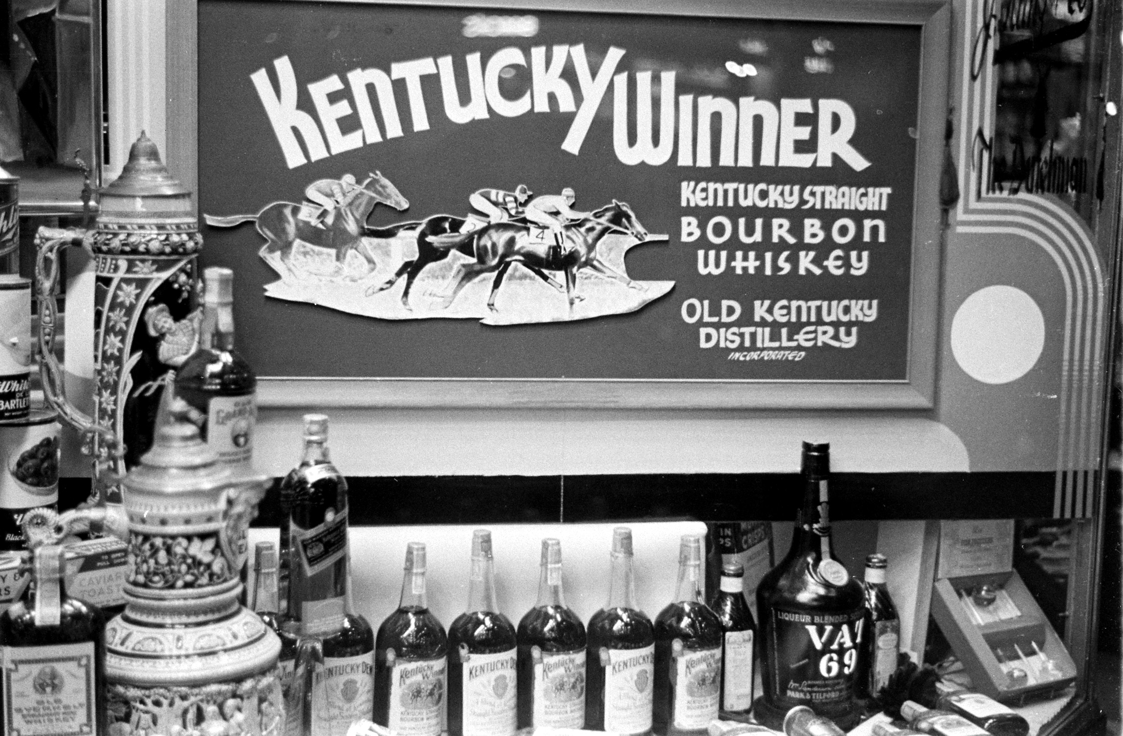 Bourbon display at the 1937 Kentucky Derby.