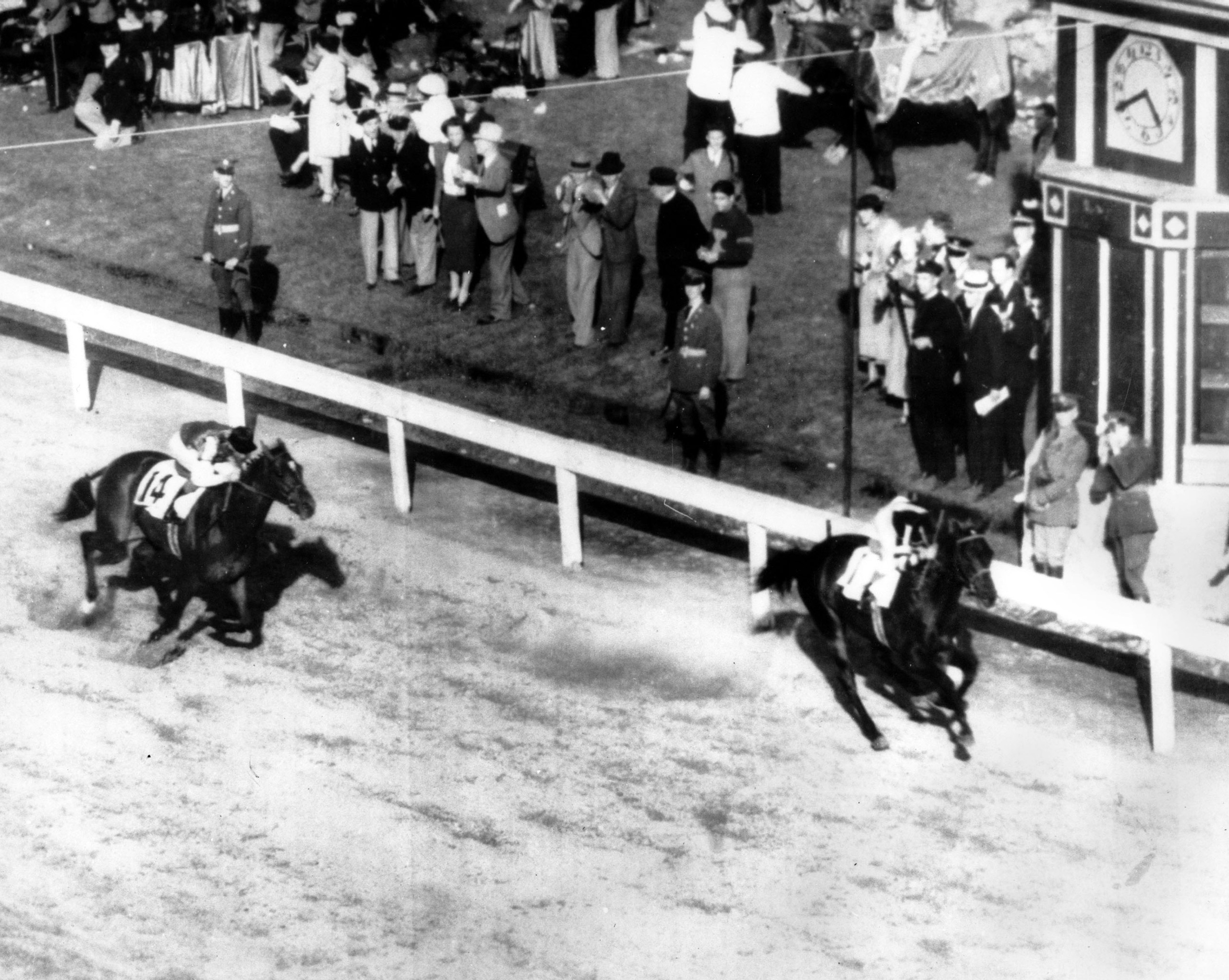 War Admiral wins the Kentucky Derby two lengths ahead of his challenger, Pompoon, at Churchill Downs in Louisville, Ky. on May 9, 1937.