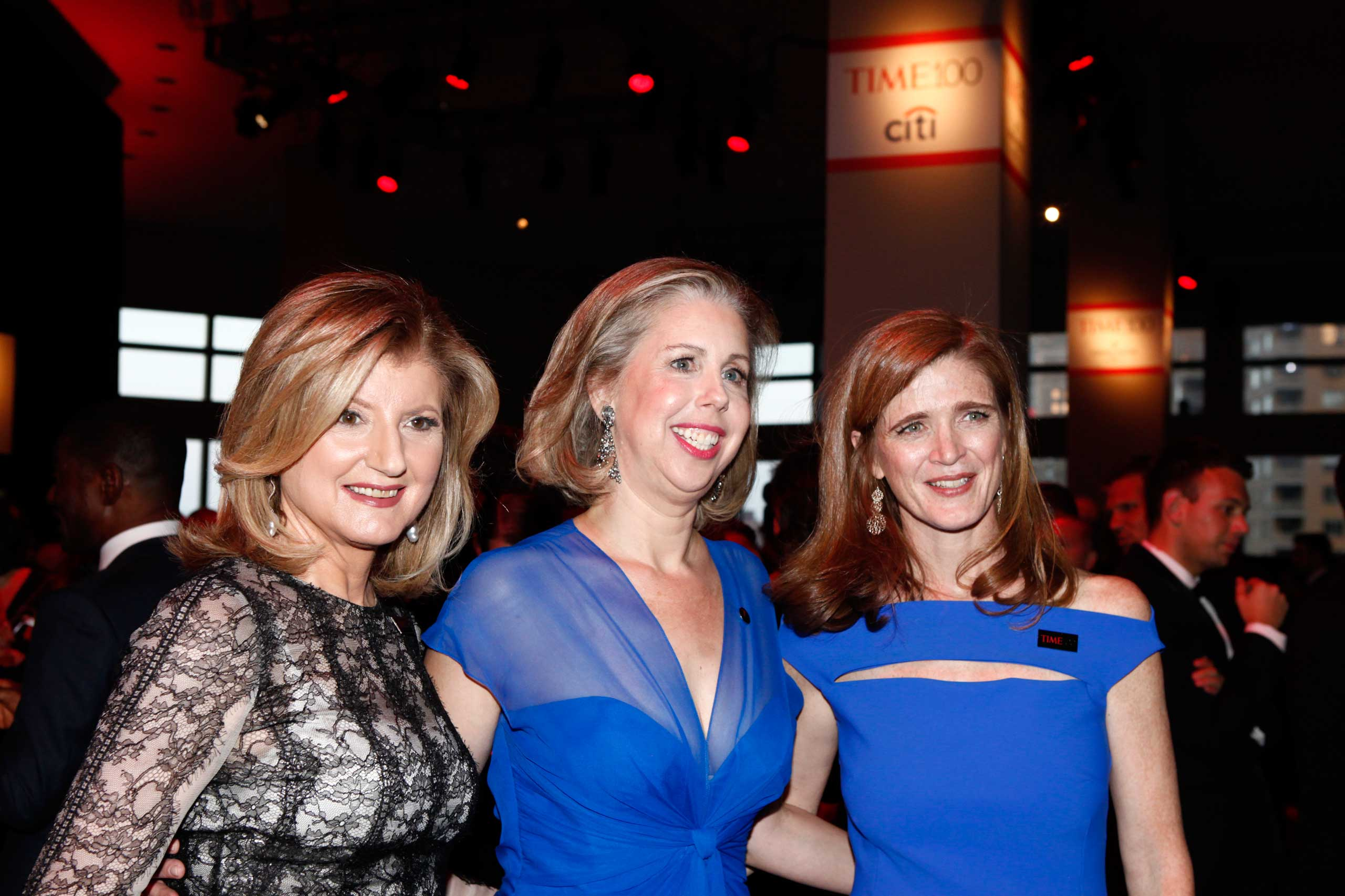 Arianna Huffington, Nancy Gibbs and Samantha Power                                   attend the TIME 100 Gala at Jazz at Lincoln Center in New York, NY, on Apr. 21, 2015.
