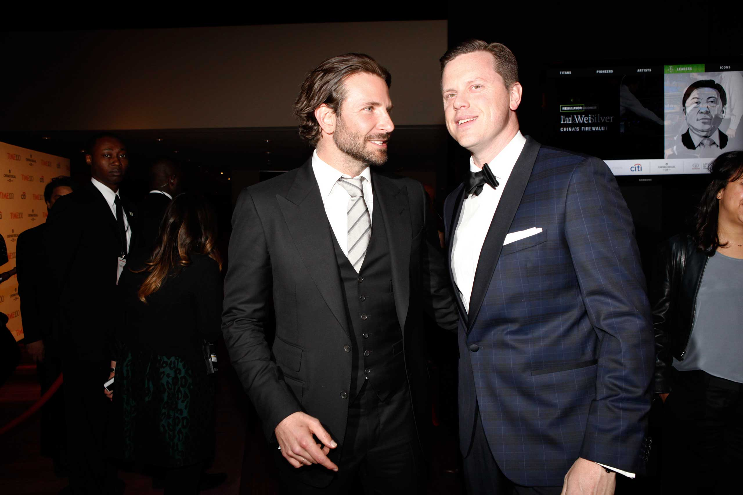 Bradley Cooper and Willie Geist attend the TIME 100 Gala at Jazz at Lincoln Center in New York, NY, on Apr. 21, 2015.