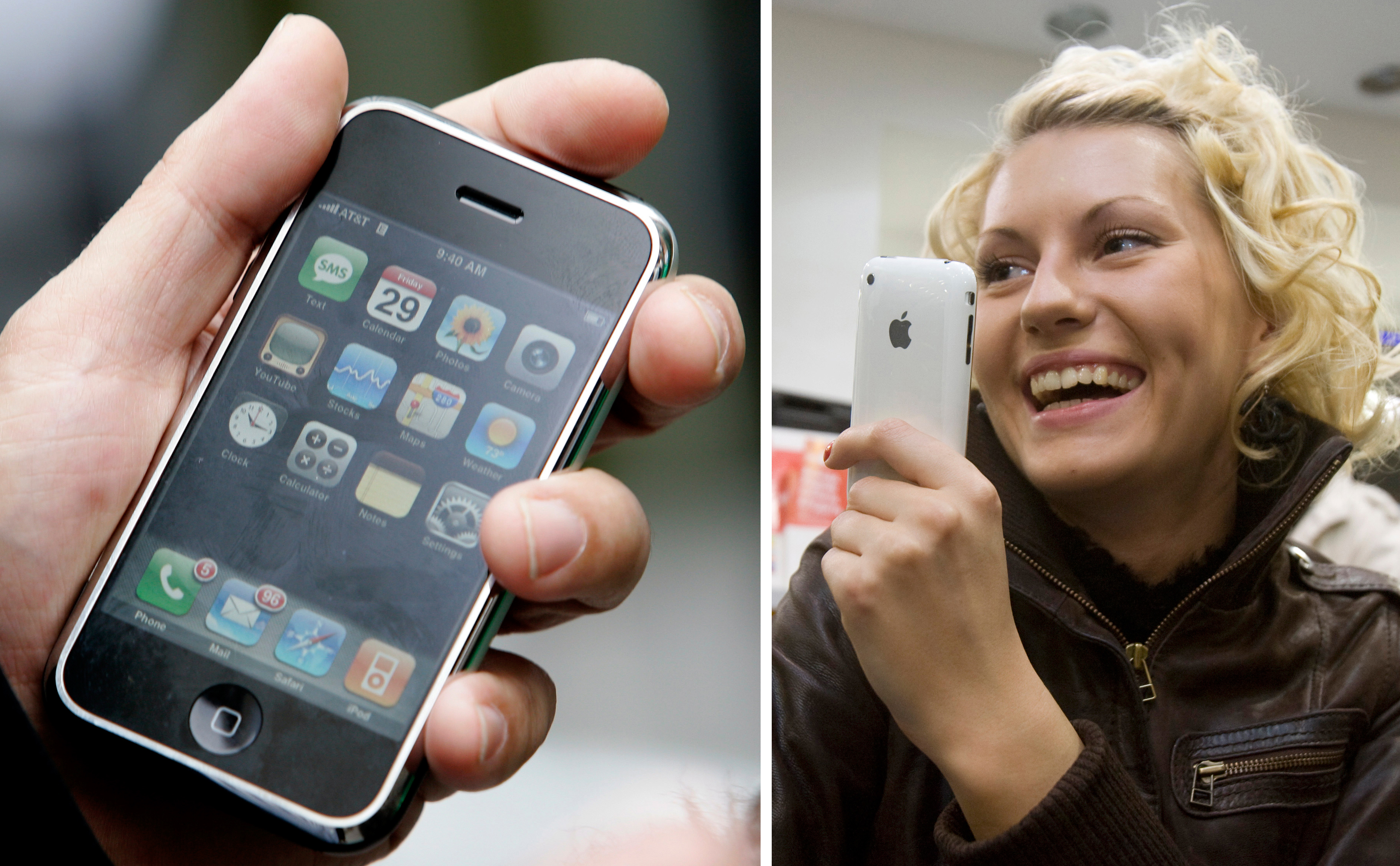 In September, three months after the iPhone's original launch, Apple cut the 8GB model's price to $399 and discontinued the 4GB model (left). The iPhone 3G (right), released on July 11, 2008, cost $199 and featured faster internet, GPS, and the ability to run third-party applications.