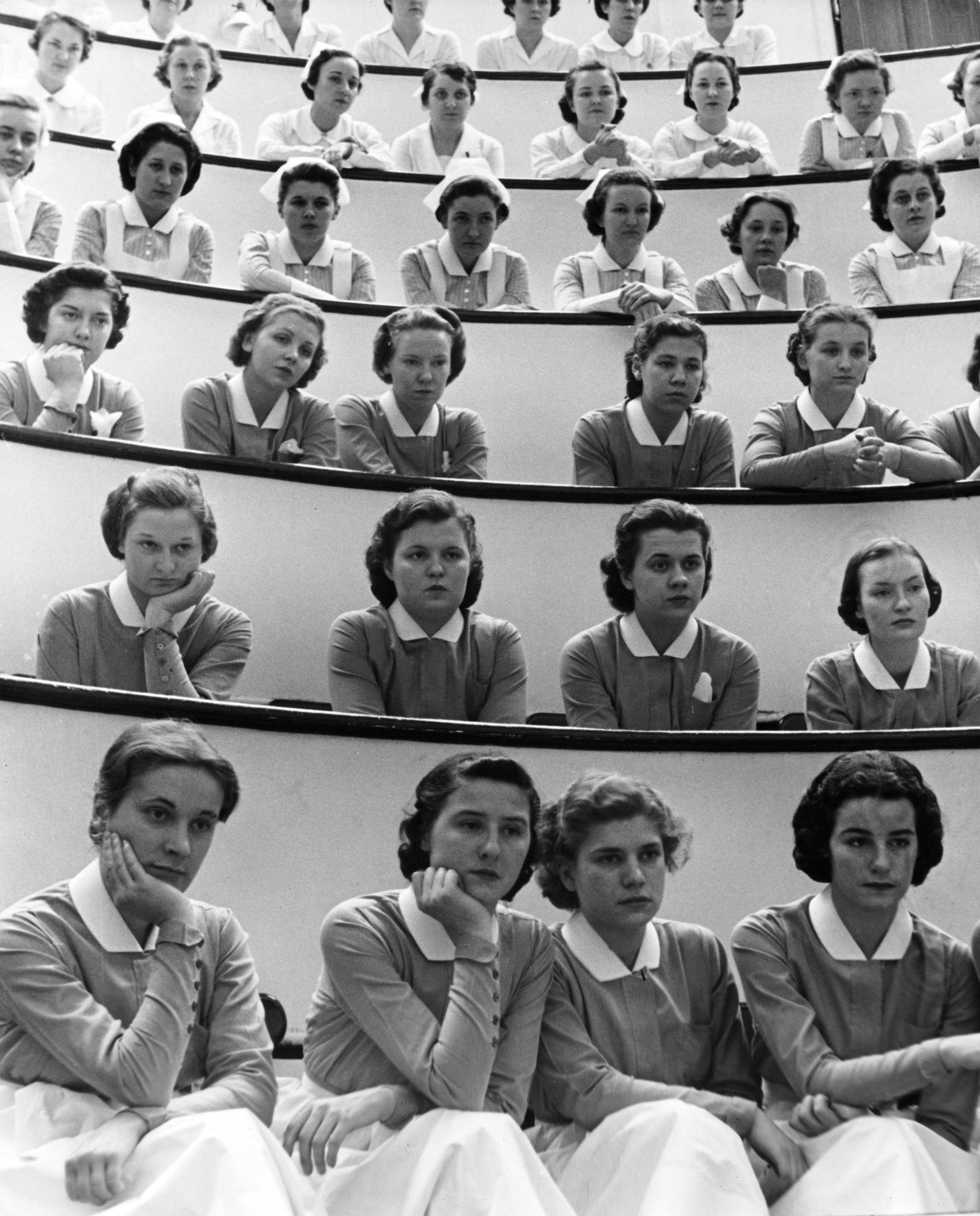 <b>Caption from LIFE.</b> Student nurses at New York's Roosevelt Hospital.