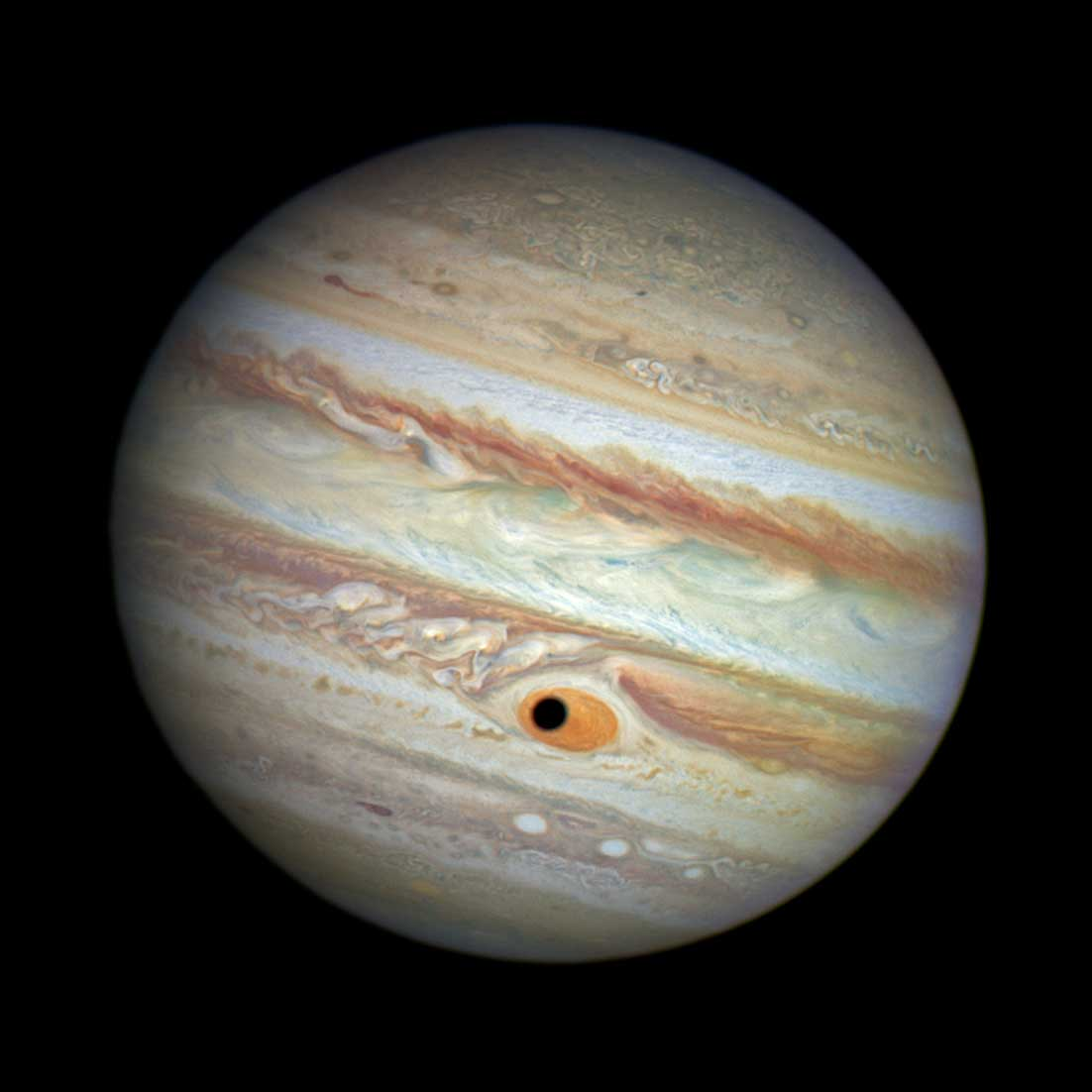 <strong>Jupiter's Eye</strong>:                                                                      The black spot which simulates a giant eye on the surface of Jupiter was actually just a well-timed shadow, captured by one of Hubble's cameras as Jupiter's moon Ganymede passed by the planet's famed Great Red Spot.                                                                      <i>Image released in Oct. 2014</i>