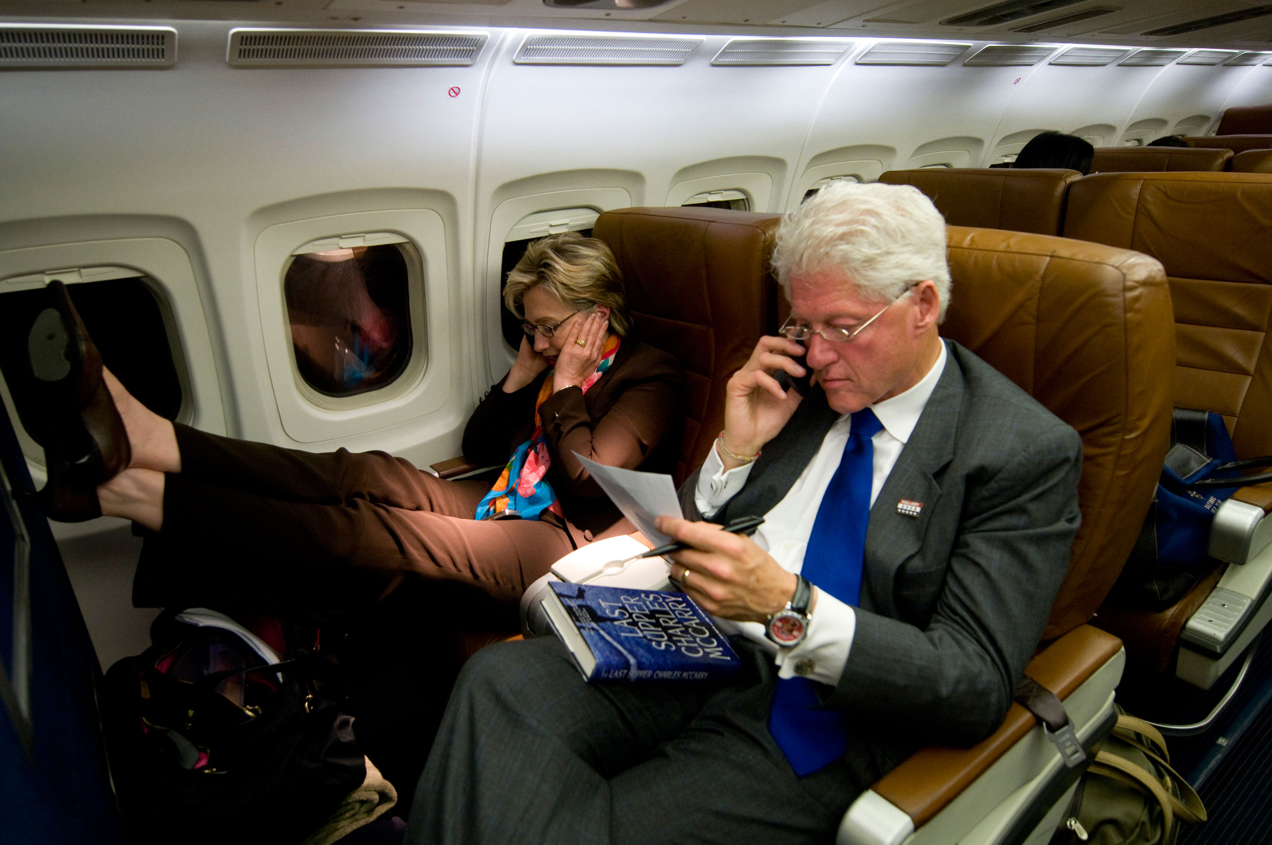President Clinton and Hillary Clinton on the campaign plane, heading back to Washington after one of her last campaign stops.