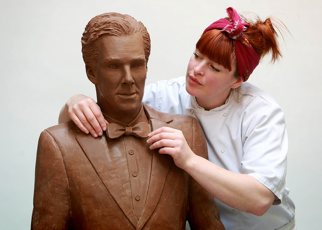 Chocolatier Jen Lindsay-Clark makes final adjustments to a life-size chocolate sculpture of actor Benedict Cumberbatch