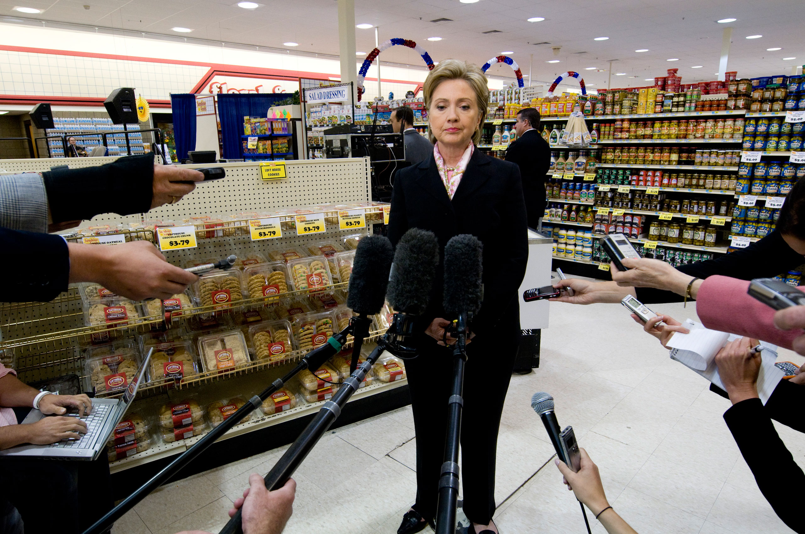 Sen. Hillary Clinton responding to press questions at a tense time during the primary elections in 2008.