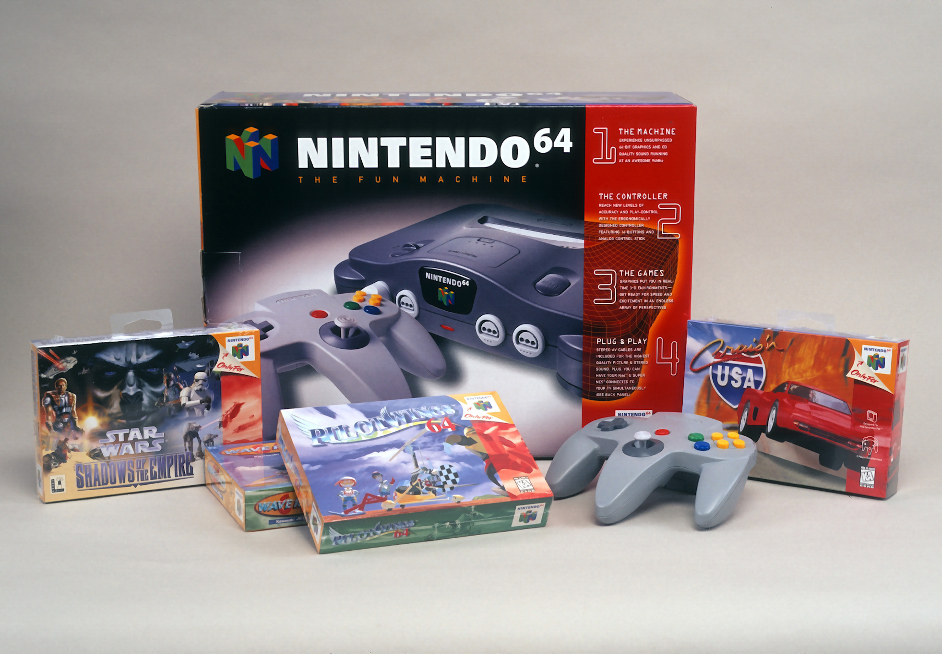 Product shot of Nintendo 64 game system with games and controller is photographed December 7, 1996 in New York City.