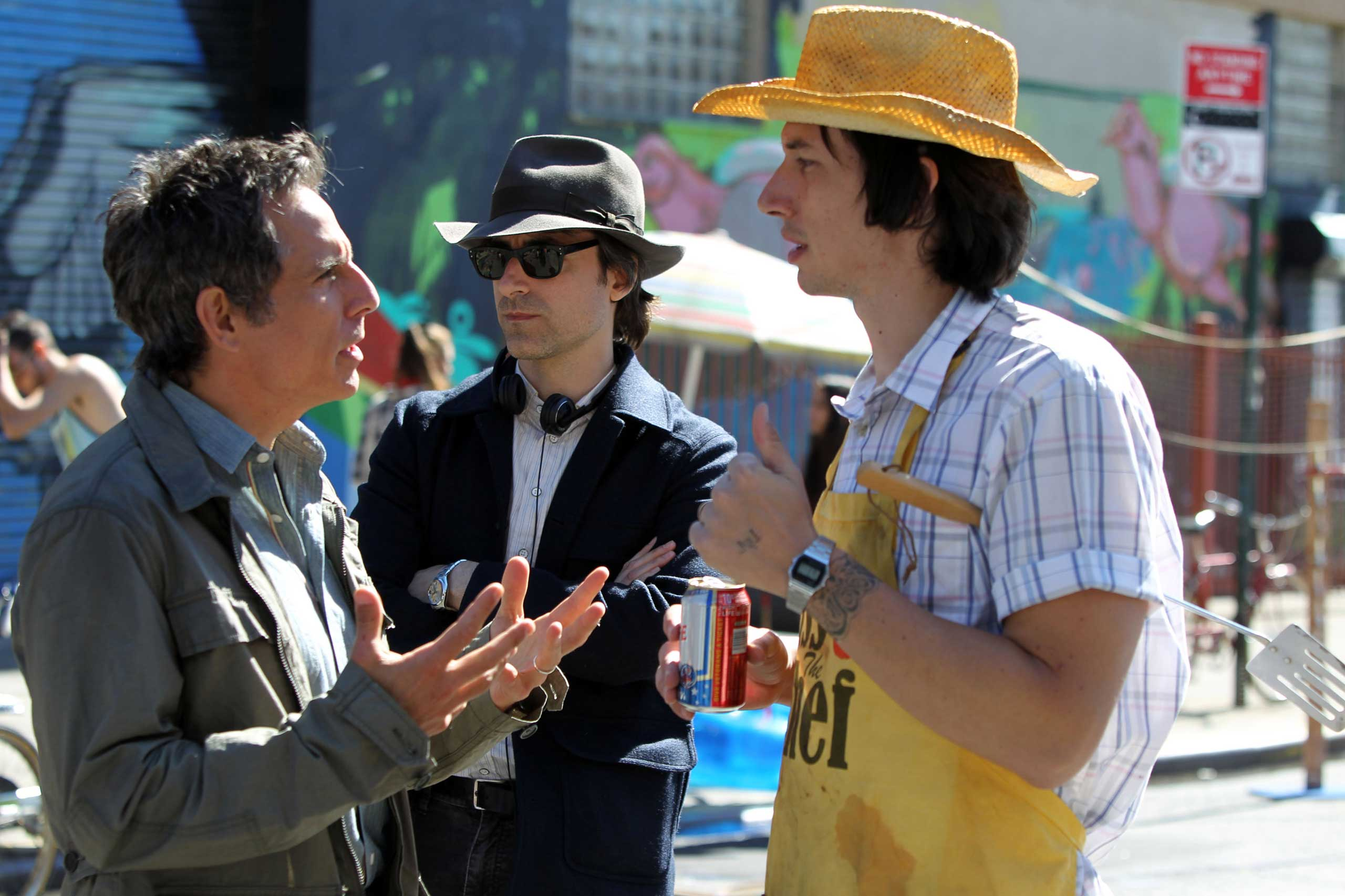 Ben Stiller, director Noah Baumbach and Adam Driver film  When We Were Young   in New York City, on September 24, 2013.