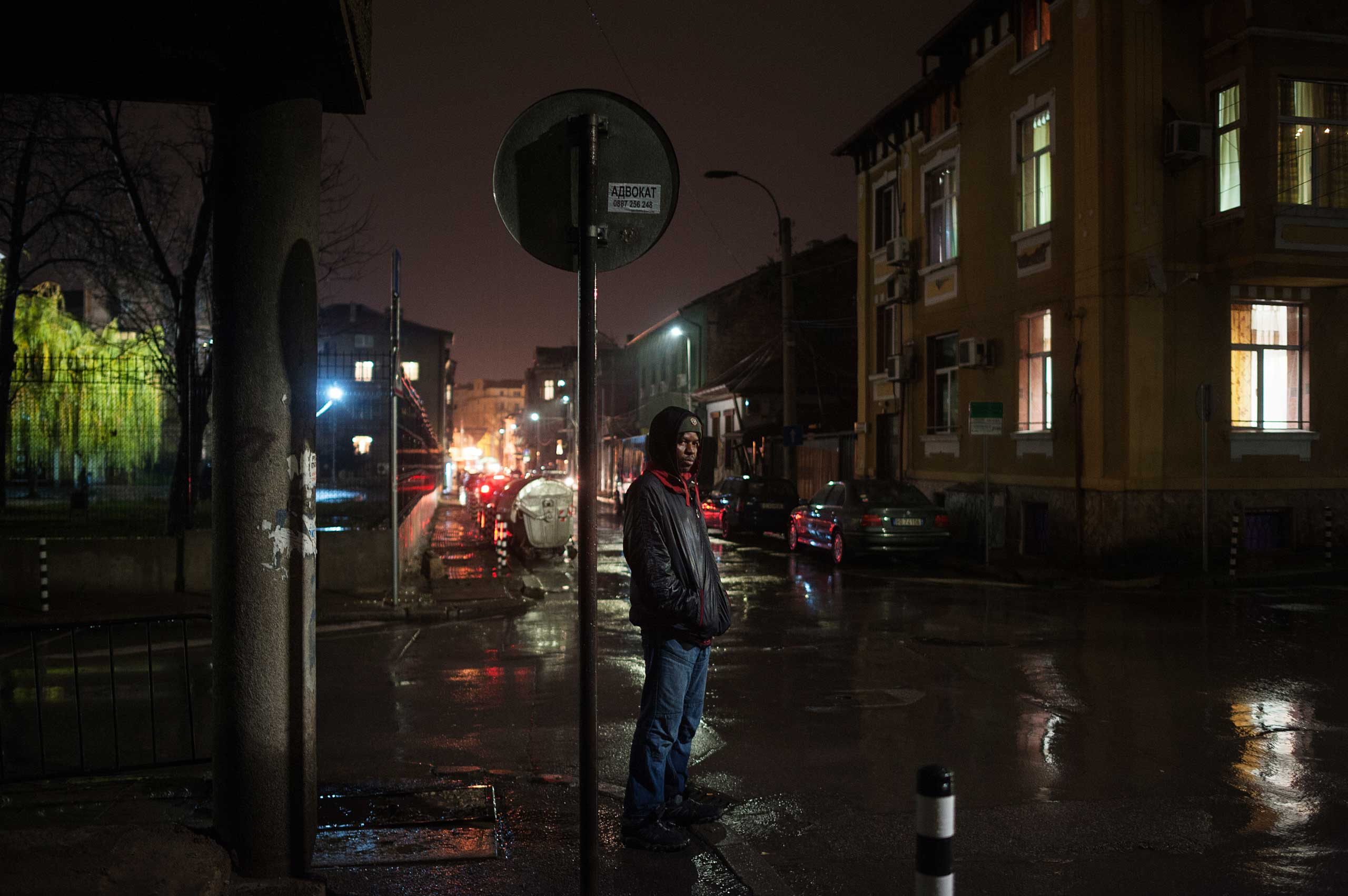 Mansour, an immigrant from Mali waits a friend in downtown Sofia, Bulgaria, Dec. 7, 2014. He is in a shelter in south-western part of the city.
