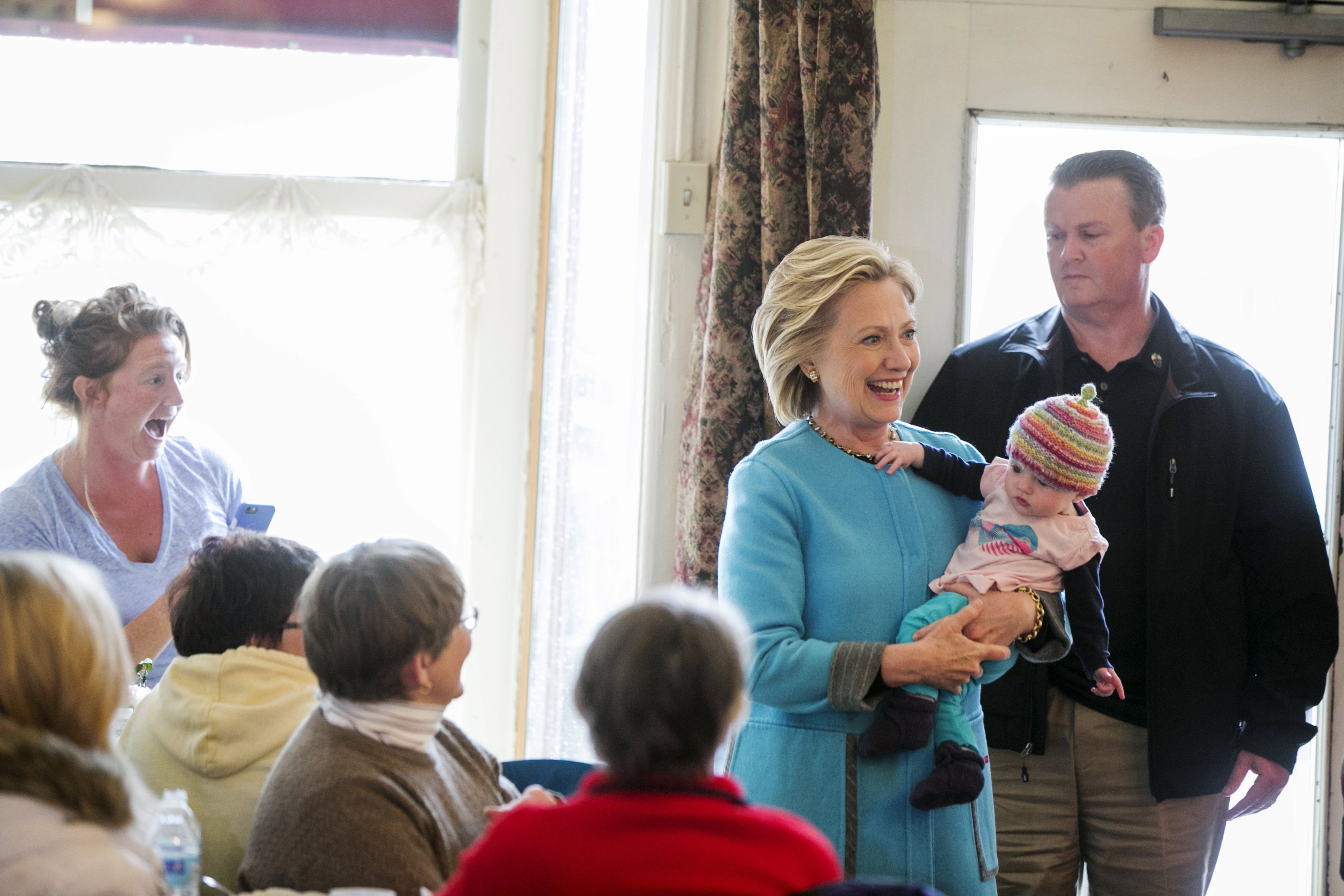 Keene, N.H. - April 20: Clinton's first good baby photo-op came early in New Hampshire in the town of Keene. Her campaign has made multiple references to her new status as a grandmother.