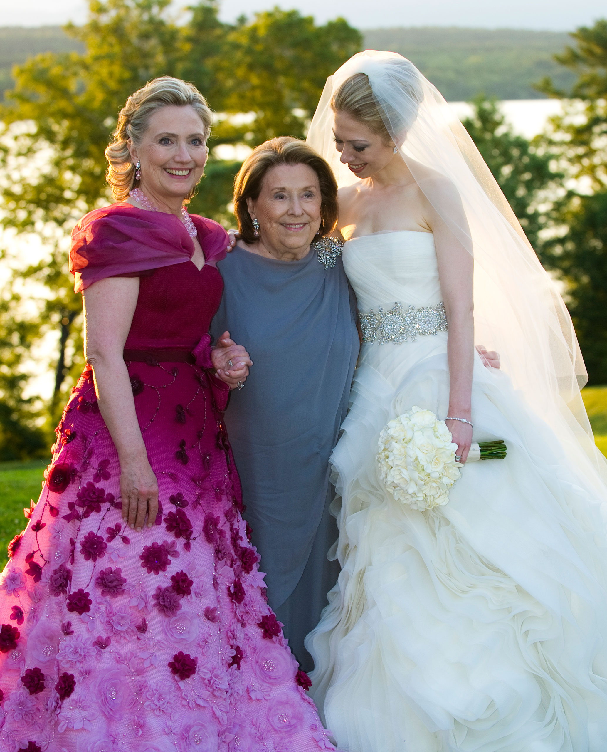 From left to right: Secretary of State Hillary Clinton, Dorothy Rodham and Chelsea Clinton pose for formal photos after the Chelsea's wedding at Astor Court at Rhinebeck, N.Y., July 31, 2010.
