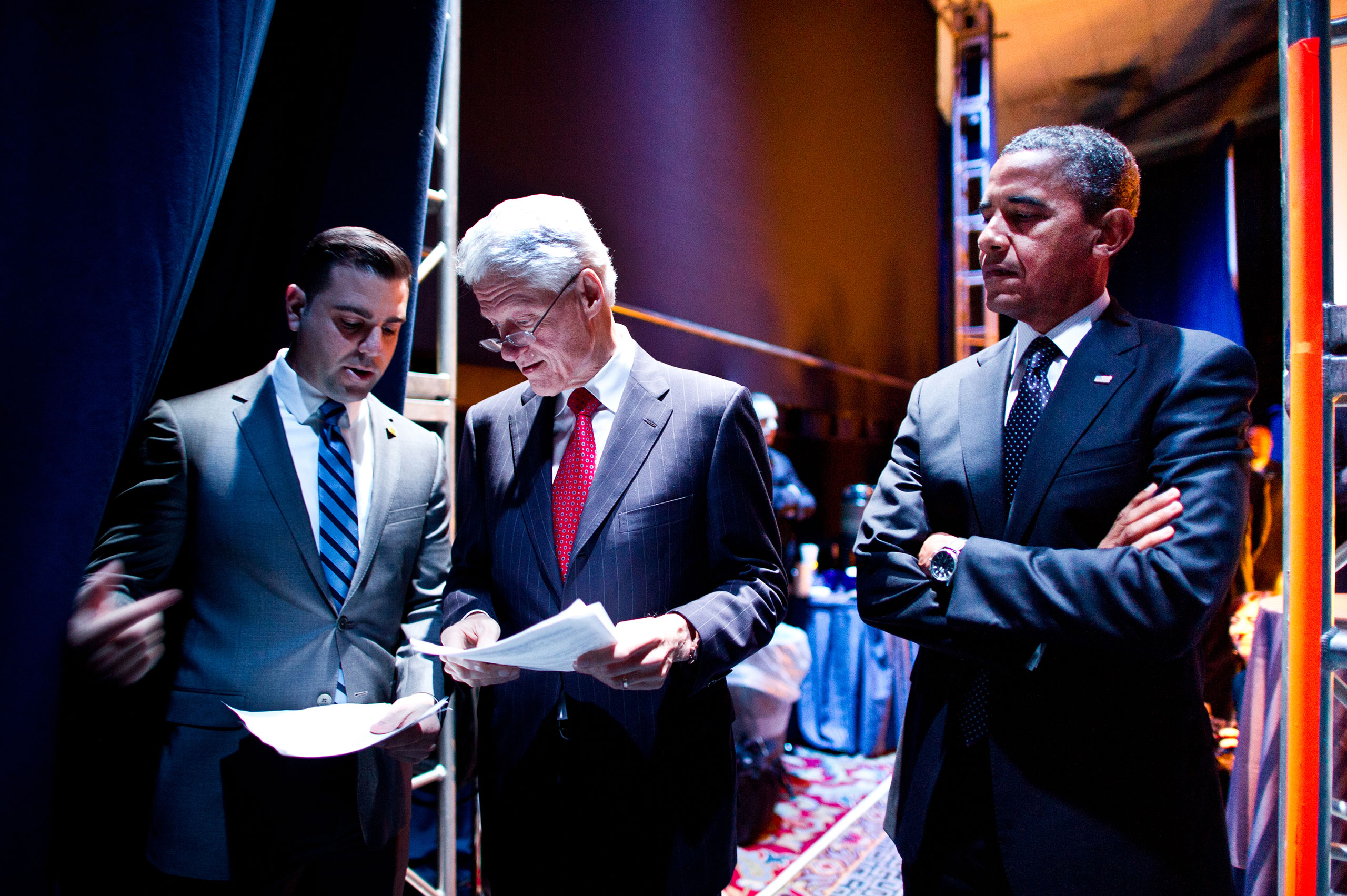 Presidents Bill Clinton and Barack Obama behind the scenes at the 2012 Democratic Convention.