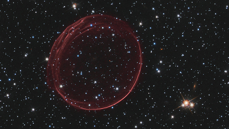 <strong>SNR 0509</strong>:                                                                      A delicate sphere of gas floats in the depths of space. The pristine shell, or bubble, is the result of gas that is being shocked by the expanding blast wave from a supernova. Called SNR 0509-67.5 (or SNR 0509 for short), the bubble is the visible remnant of a powerful stellar explosion in the Large Magellanic Cloud (LMC), a small galaxy about 160,000 light-years from Earth.                                                                       <i>Image released on Dec. 14, 2010</i>
