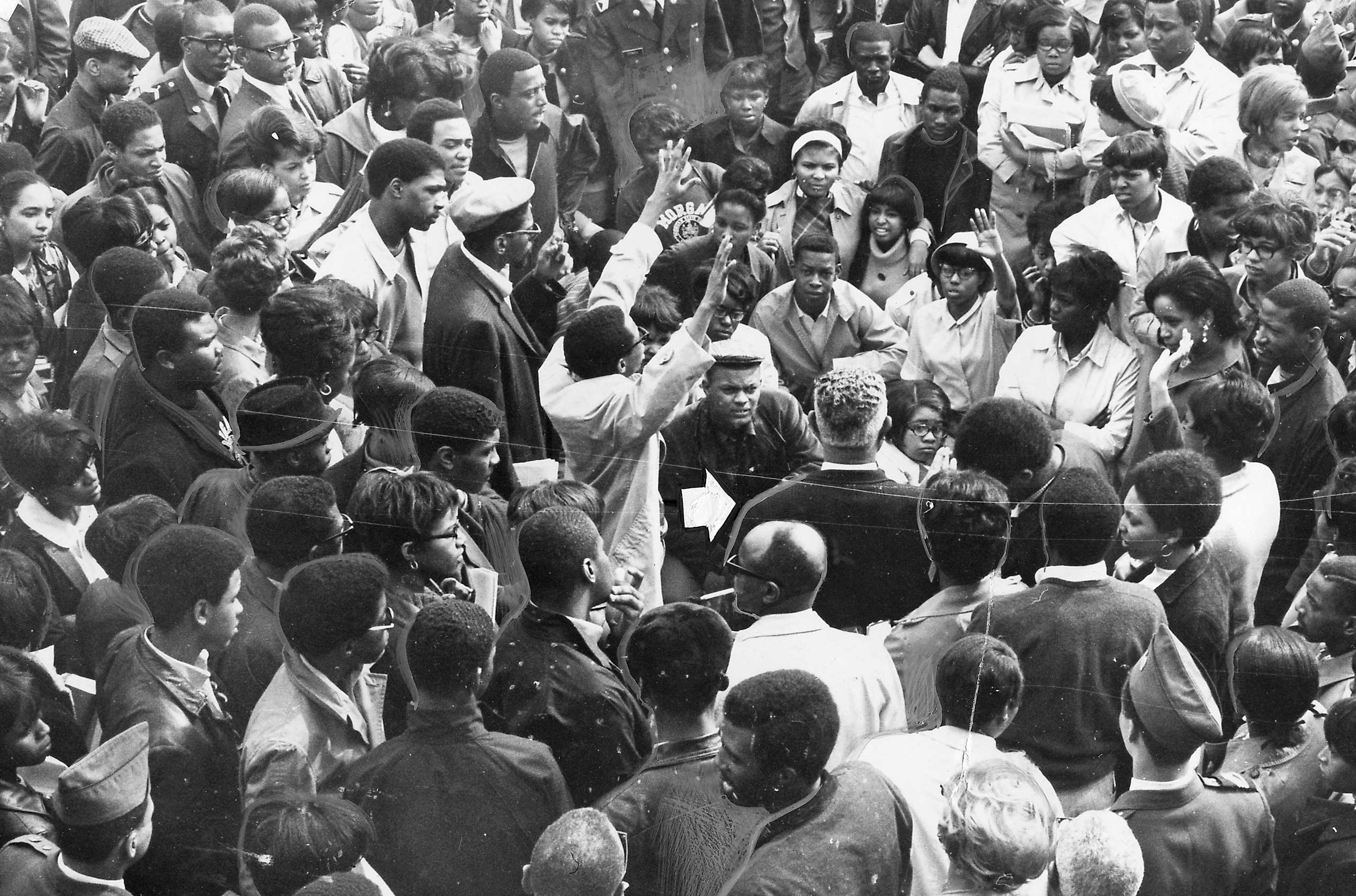 Students demonstrate during a Black Power event at Morgan State University in Baltimore on April 6, 1968.