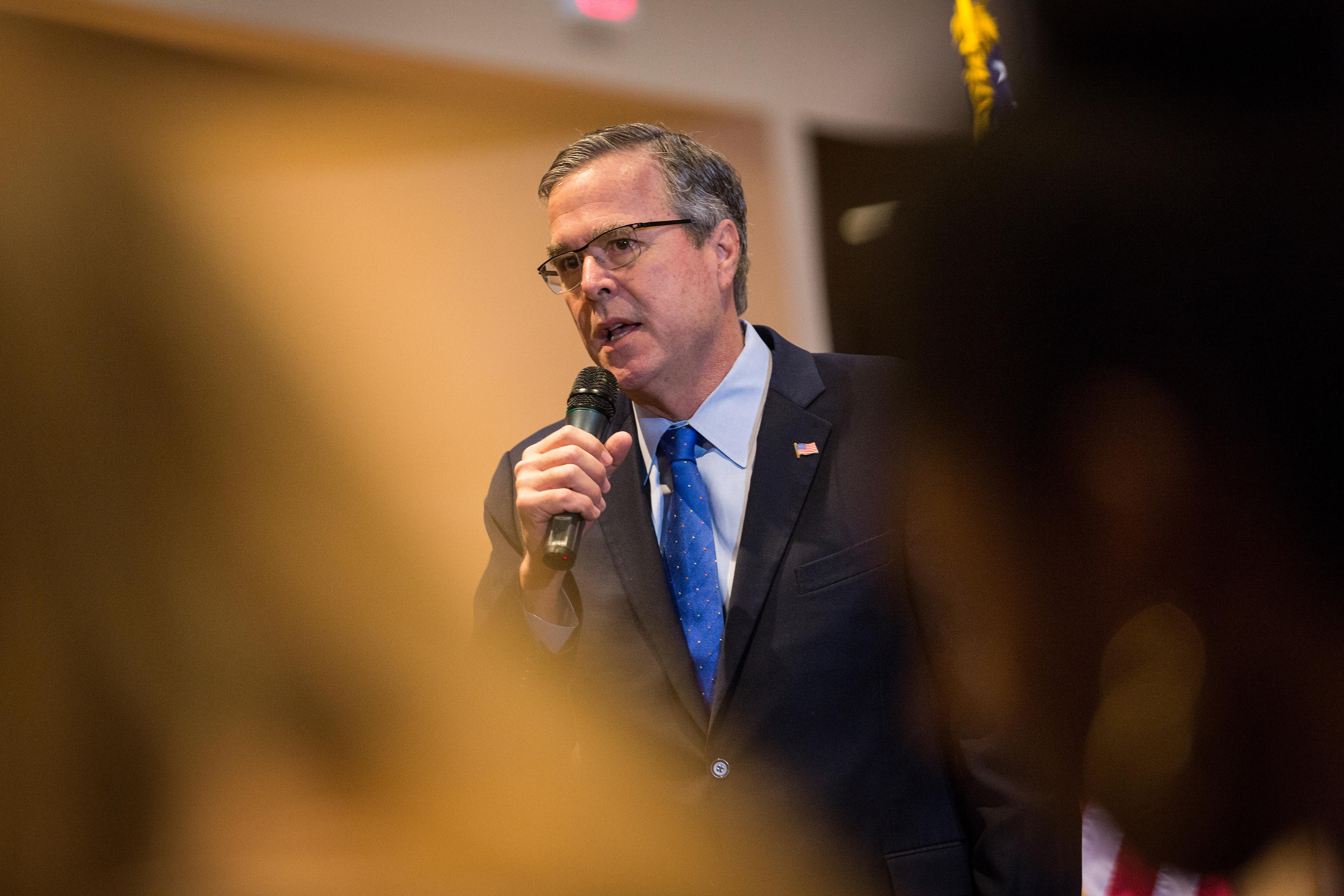 Former Florida Governor and potential Republican presidential candidate Jeb Bush speaks to supporters at an early morning GOP breakfast event in Myrtle Beach, South Carolina, on Mar. 18, 2015.