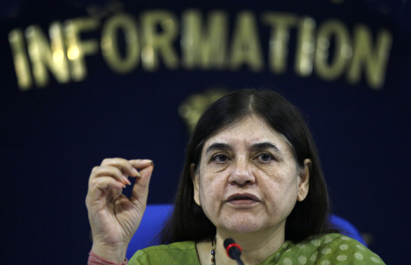 Women and Child Development Minister Maneka Gandhi addresses a press conference on the completion of 100 days of her ministry in New Delhi on Sept. 17, 2014