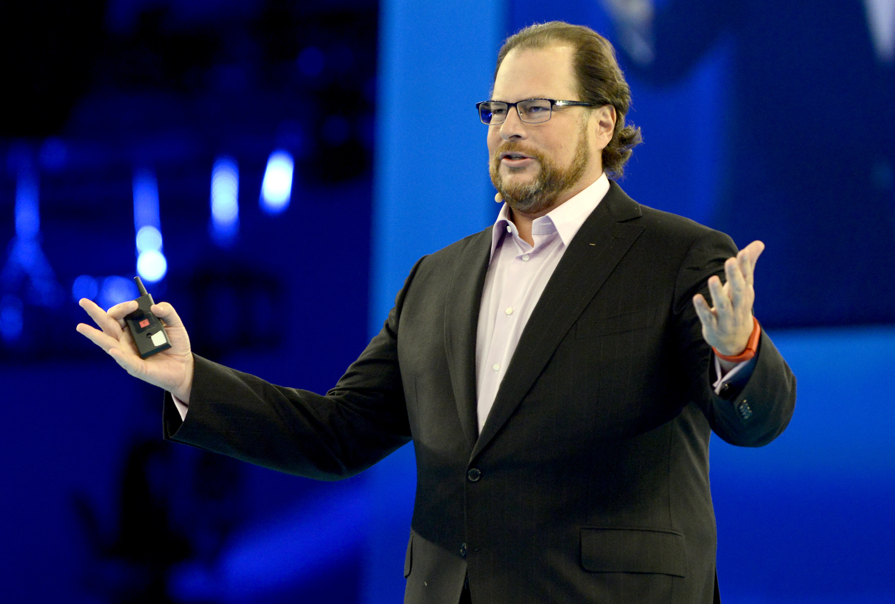 Marc Benioff delivers the keynote speech at Salesforce.com's Dreamforce 2014 Conference at Moscone South on October 14, 2014 in San Francisco, California.