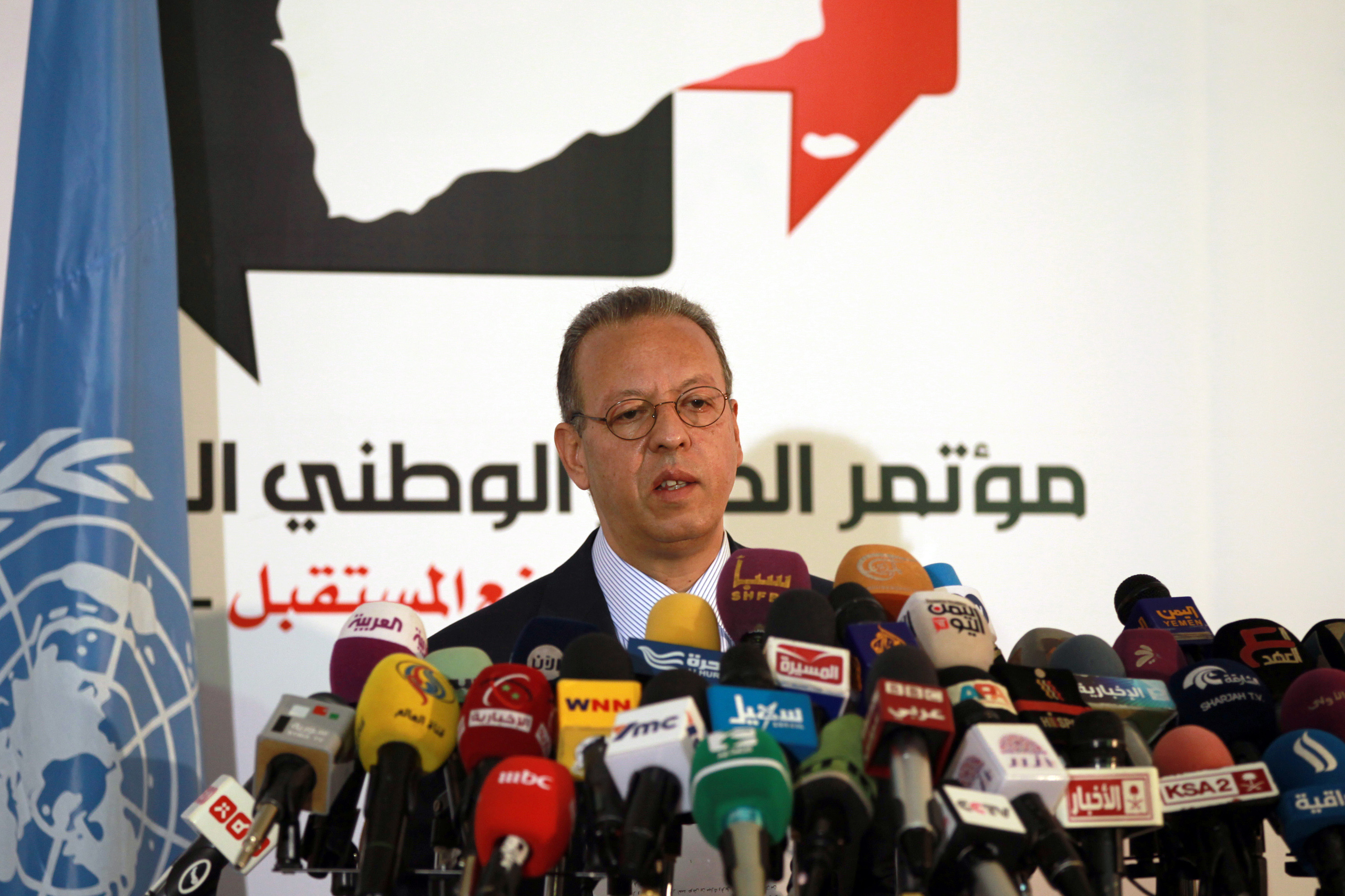 Jamal Benomar, UN envoy to Yemen, speaks during a press conference conference in Sanaa December 24, 2013.