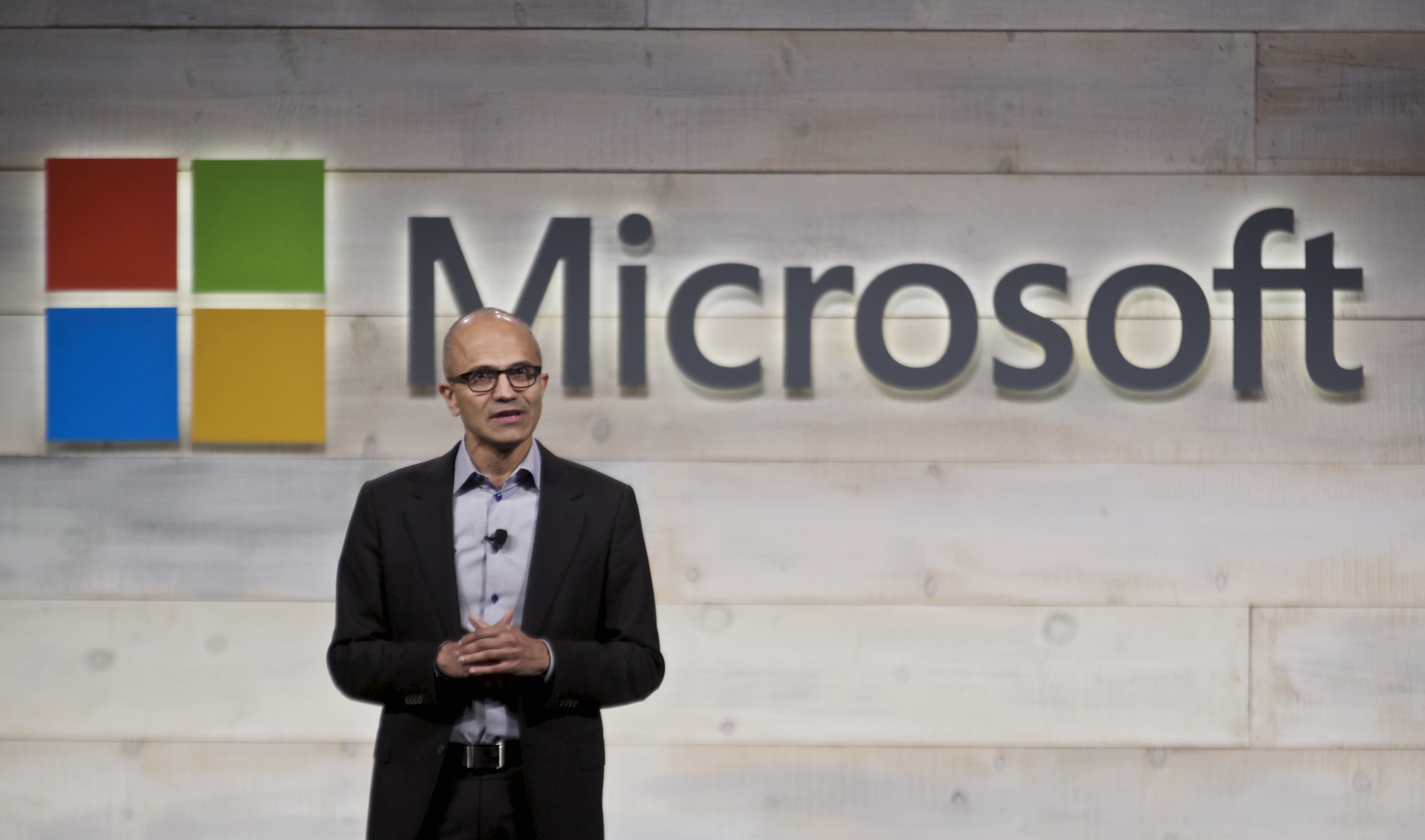 Microsoft CEO Satya Nadella addresses shareholders during Microsoft Shareholders Meeting December 3, 2014 in Bellevue, Washington.