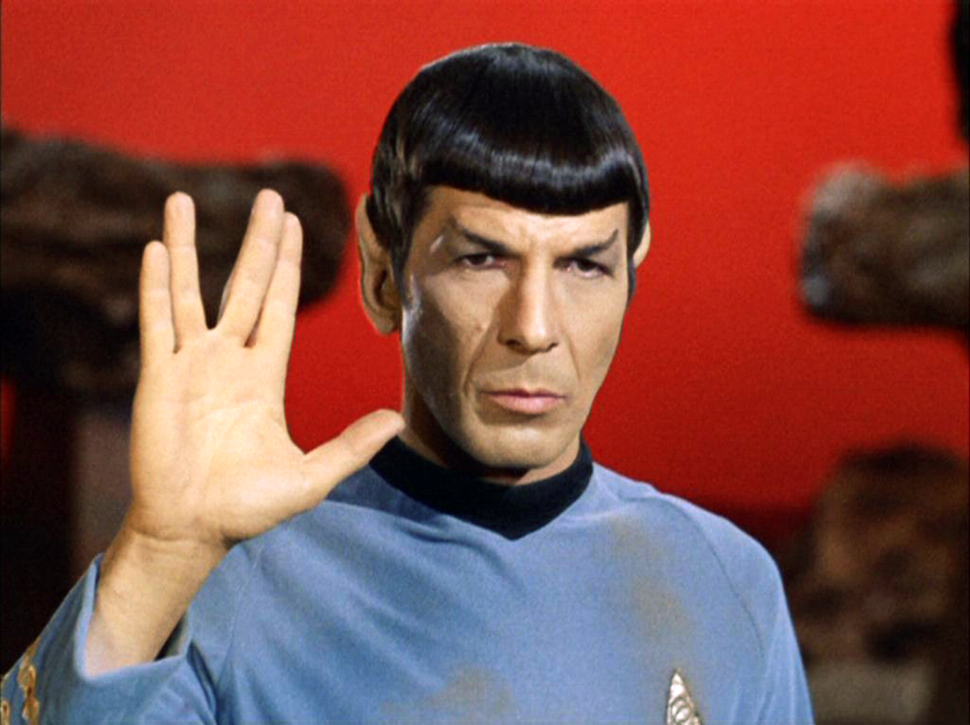 Leonard Nimoy as Mr. Spock  in  Star Trek: The Original Series  episode 'Amok Time'. Spock shows the Vulcan salute, usually accompanied with the words,  Live long and prosper.