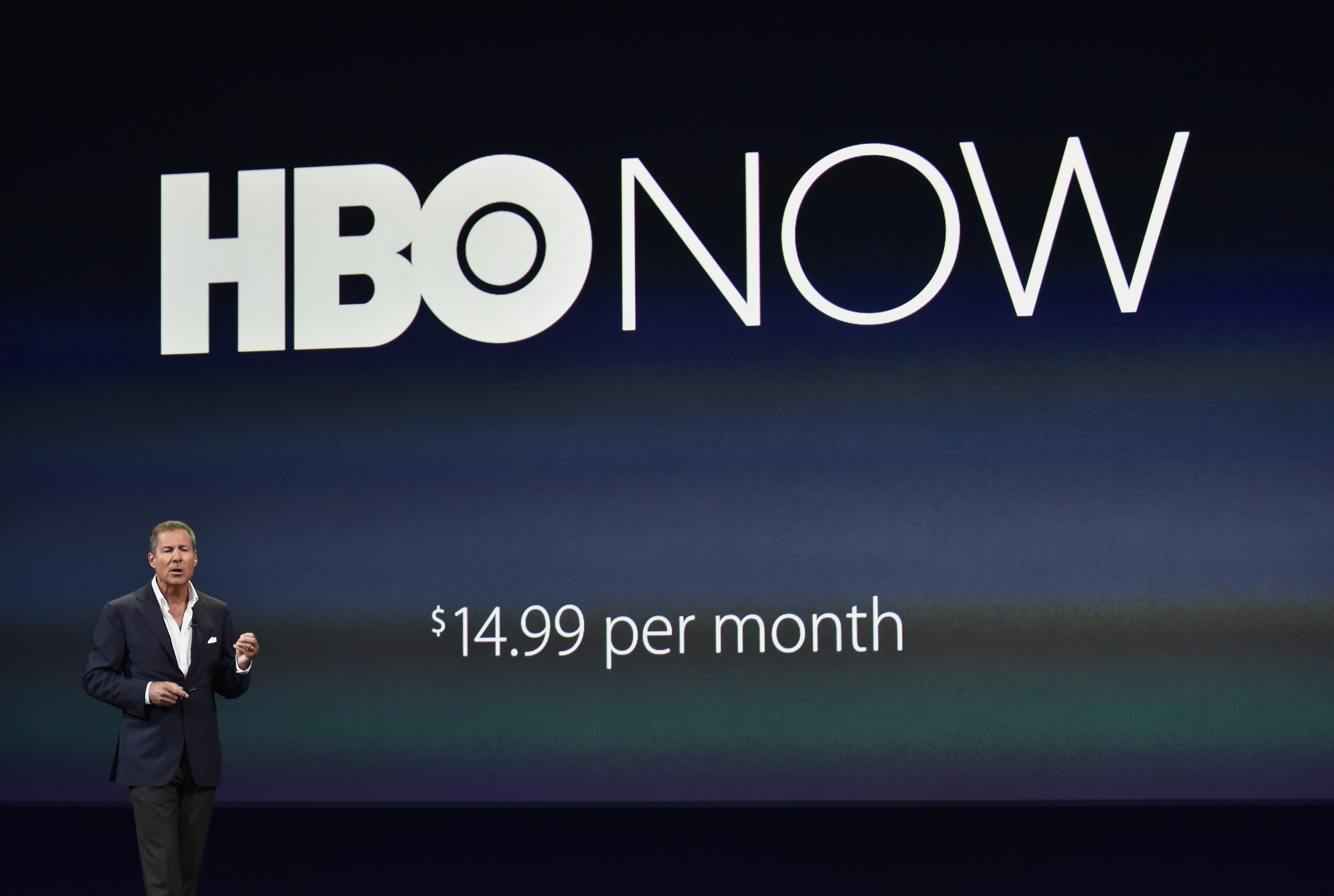 Richard Plepler, chief executive officer of Home Box Office Inc. (HBO), speaks during the Apple Inc. Spring Forward event in San Francisco, California, U.S., on Monday, March 9, 2015.