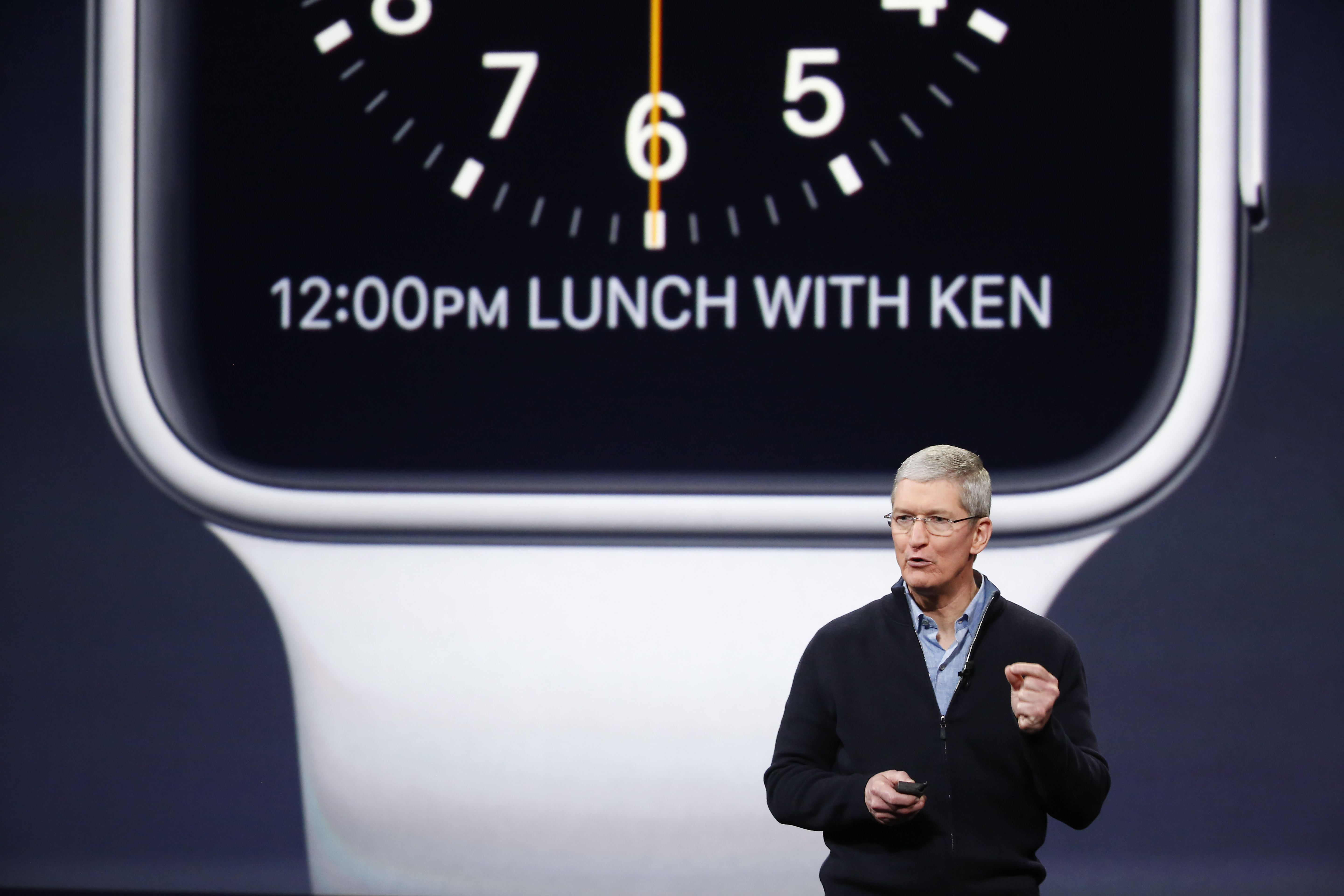 Apple CEO Tim Cook announces the Apple Watch during an Apple special event at the Yerba Buena Center for the Arts on March 9, 2015 in San Francisco, California.