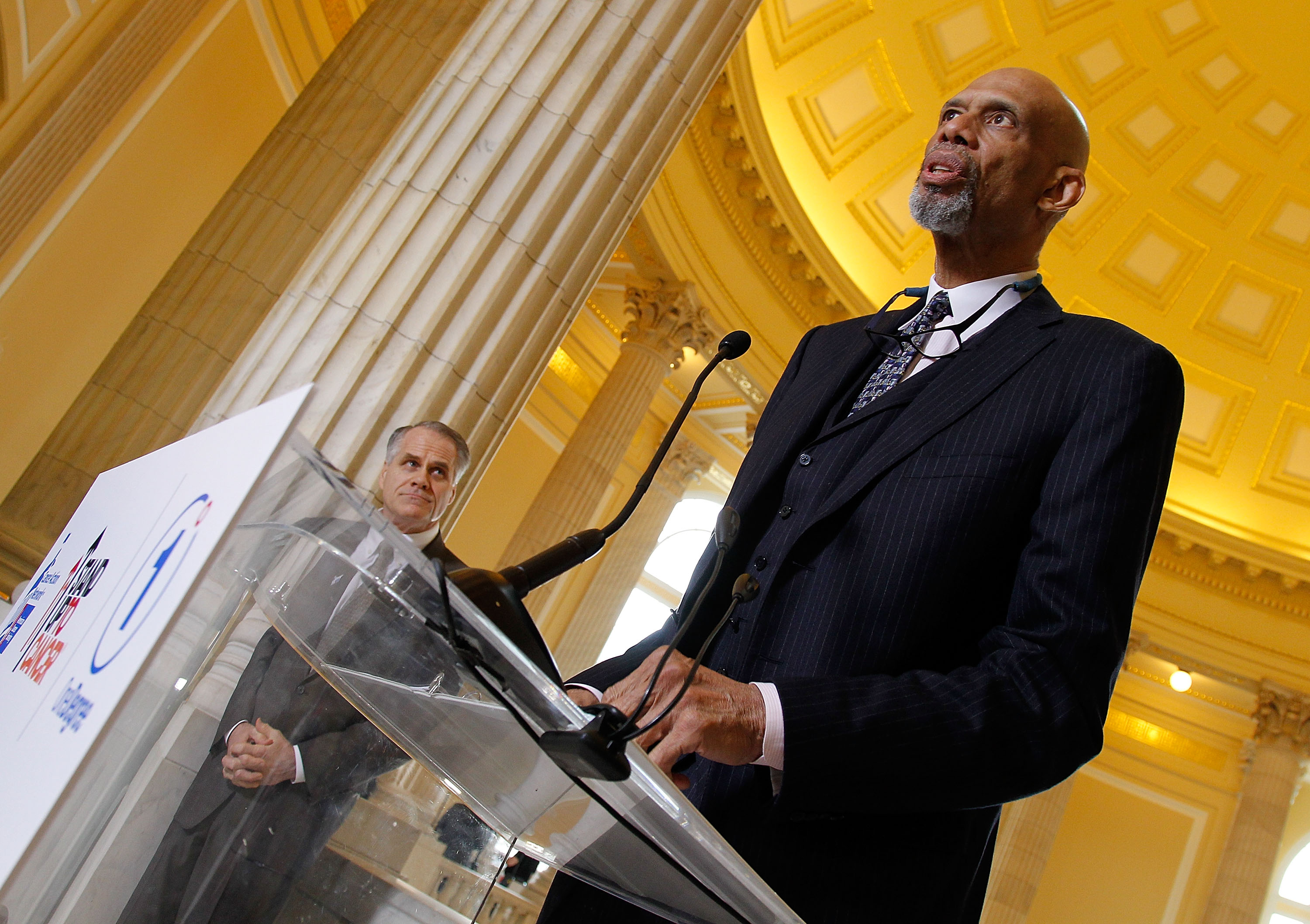 NBA hall-of famer Kareem Abdul-Jabbar speaks at The American Cancer Society Cancer Action Network and Stand Up To Cancer discussion on the importance of cancer research at Cannon House Office Building in Washington on March 17, 2015.