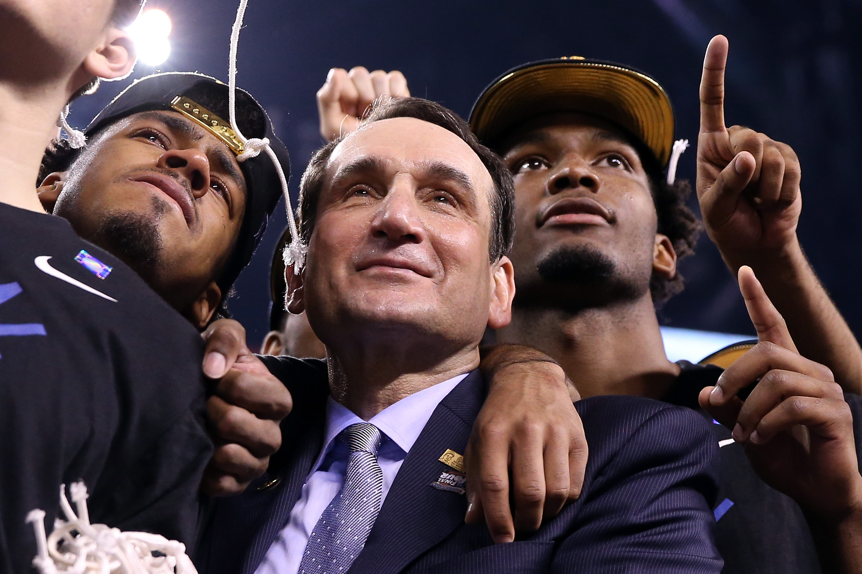 Duke head coach Mike Krzyzewski after the Blue Devils defeat the Wisconsin Badgers at Lucas Oil Stadium in Indianapolis on April 6, 2015