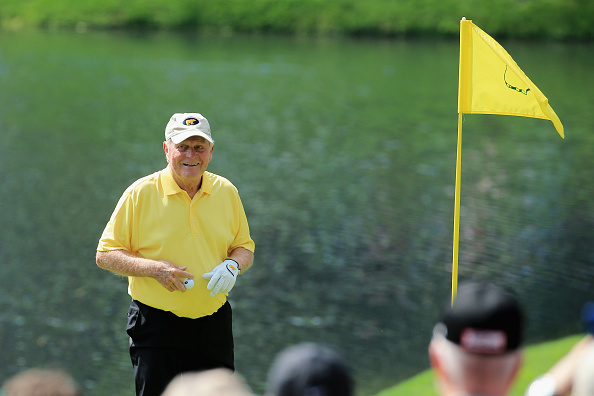 Jack Nicklaus celebrates his hole-in-one during the Par 3 Contest prior to the start of the 2015 Masters Tournament in Augusta, Ga. on April 8, 2015.