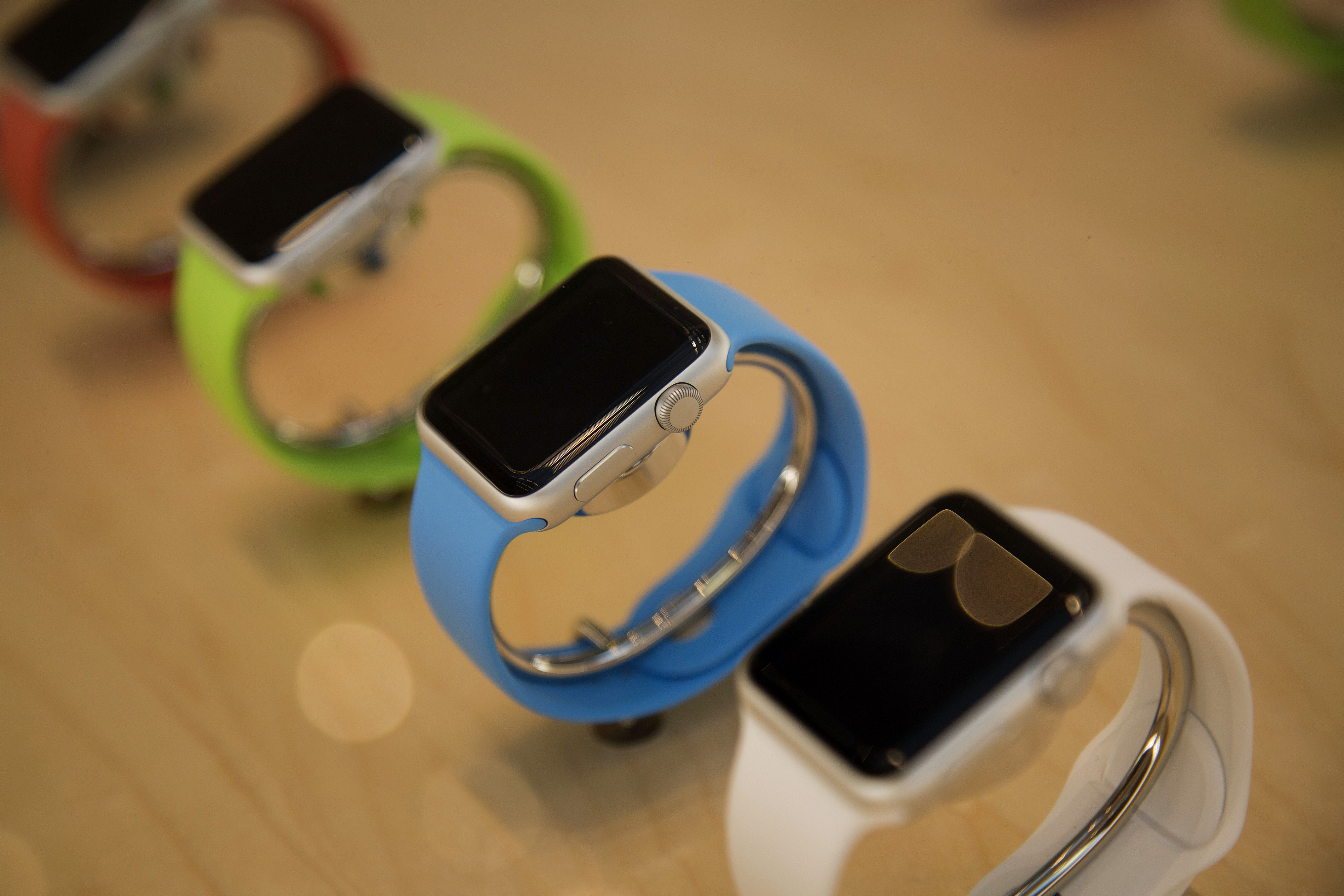 The Apple Watch Sport edition is displayed at an Apple Inc. store in New York, U.S., on Friday, April 10, 2015.