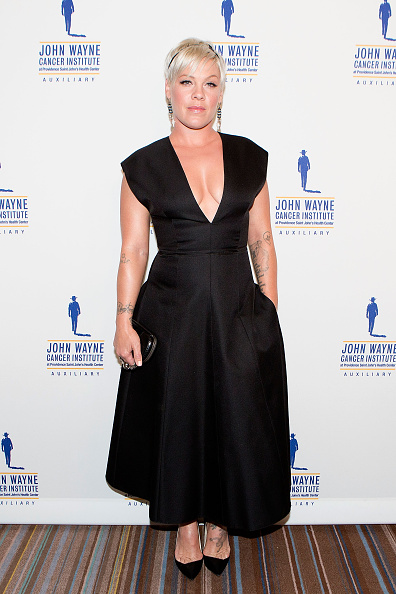 Pink arrives for the John Wayne 30th Annual Odyssey Ball in Beverly Hills, Calif. on April 11, 2015.