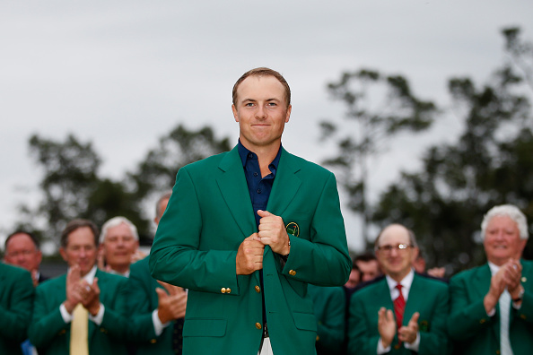 AUGUSTA, GA - APRIL 12:  Jordan Spieth of the United States poses with the green jacket after winning the 2015 Masters Tournament at Augusta National Golf Club on April 12, 2015 in Augusta, Georgia.  (Photo by Ezra Shaw/Getty Images)