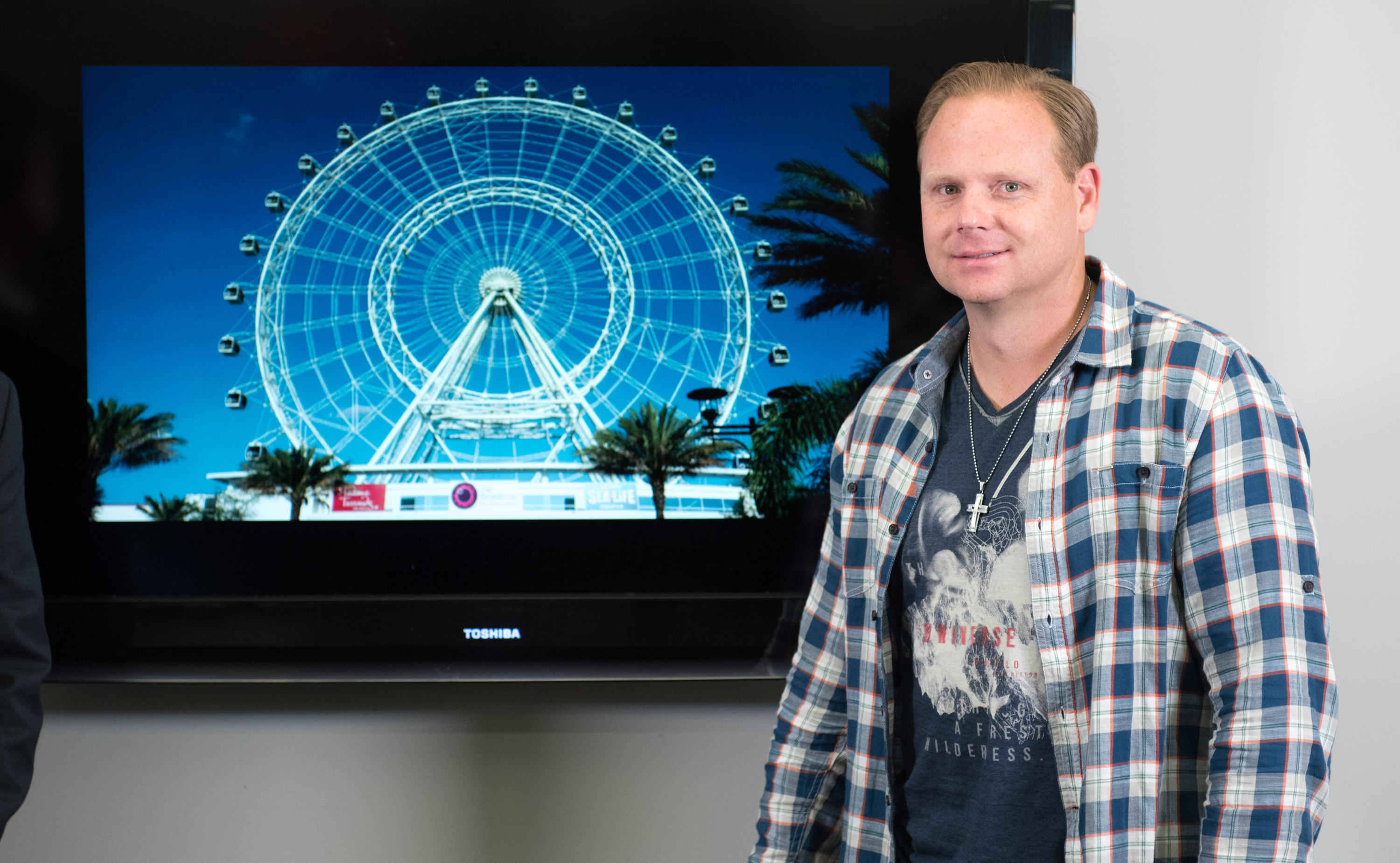 Nik Wallenda announces his plans to walk on top of the Orlando Eye Ferris wheel on April 13, 2015 in New York City.