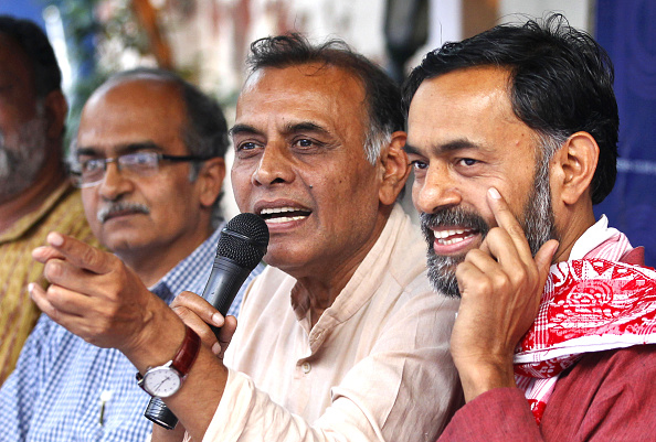 Dissident AAP leaders, from left, Prashant Bhushan, Anand Kumar and Yogendra Yadav addressing a press conference at the Press Club of India in New Delhi on April 15, 2015