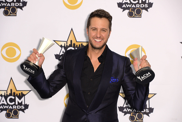 Luke Bryan poses in the press room at the 50th Academy of Country Music Awards at AT&T Stadium in Arlington, Texas, on April 19, 2015