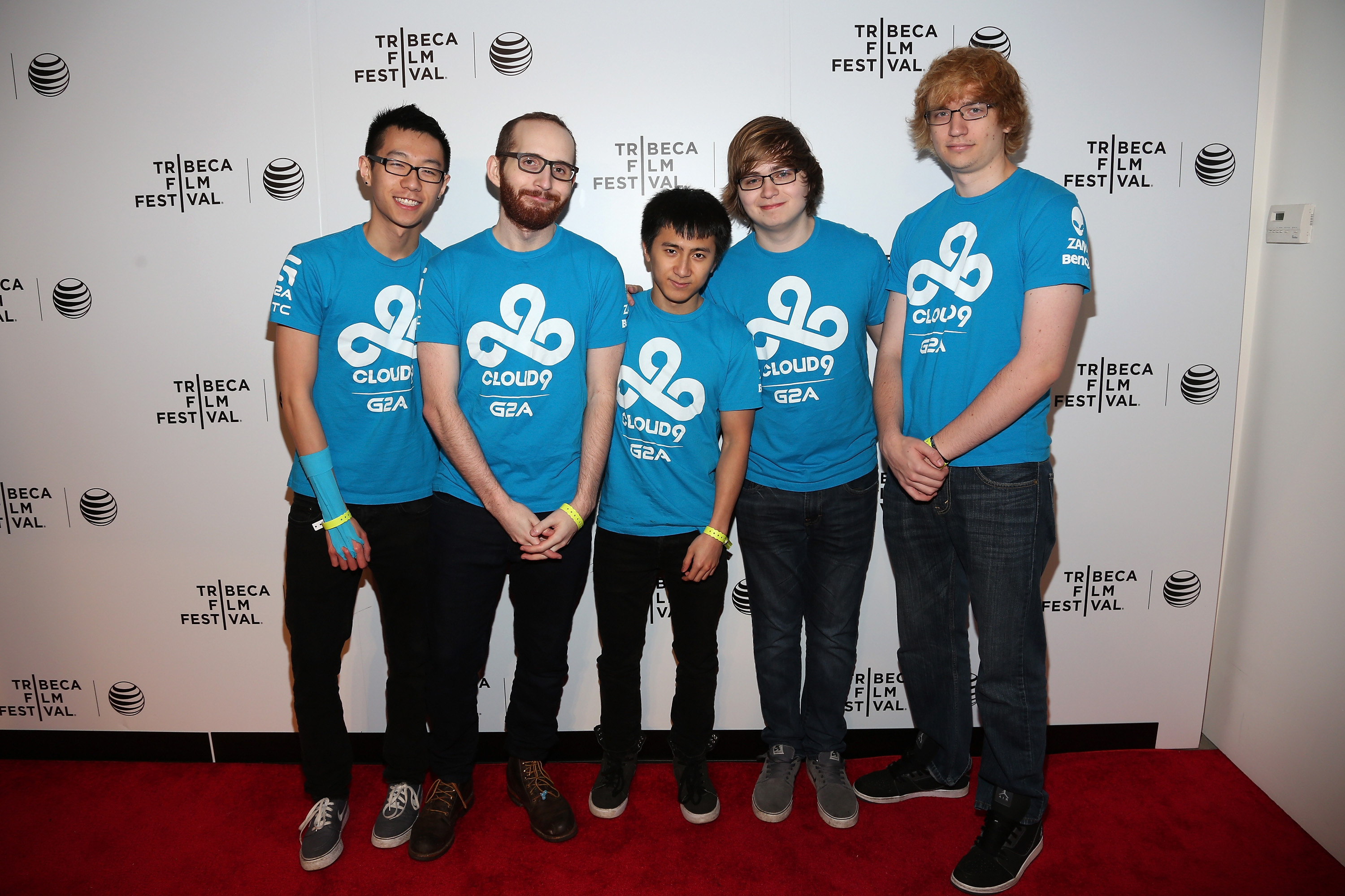 Hai Lam (L) and teammates attend the premiere of 'All Work All Play' during the 2015 Tribeca Film Festival at Spring Studio on April 20, 2015 in New York City.