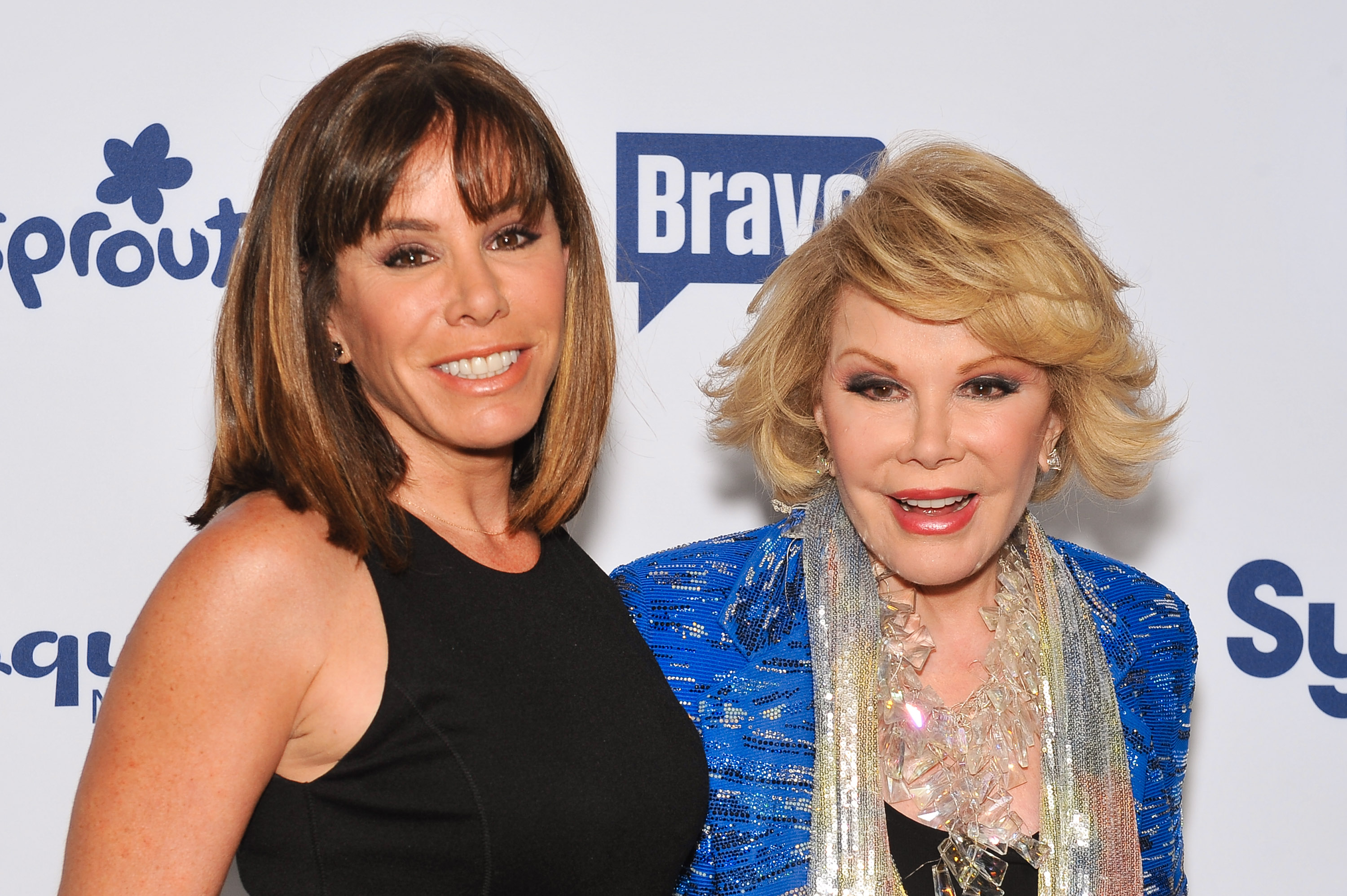Joan Rivers (R) and daughter Melissa Rivers on May 15, 2014 in New York City.