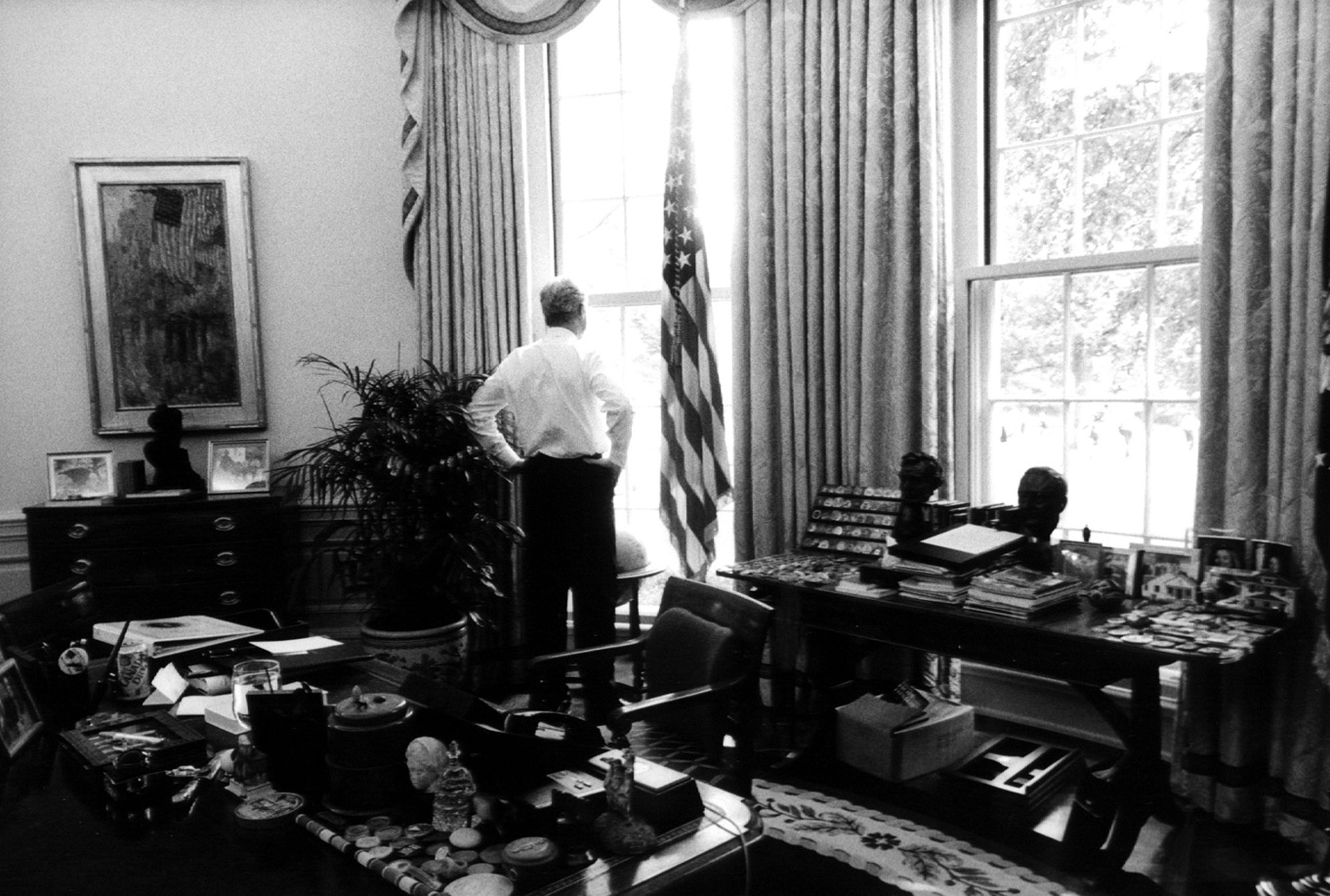 President Clinton in the Oval Office after an event on the South Lawn.