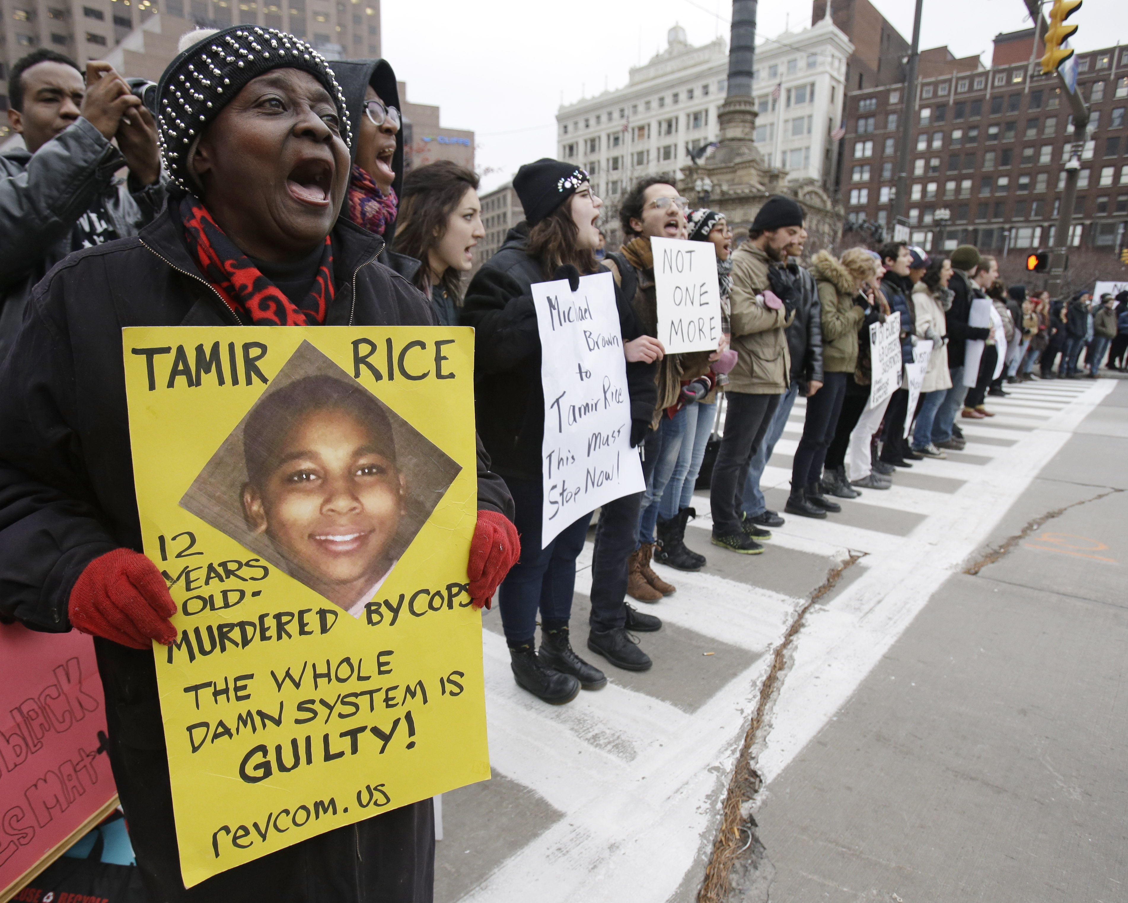 Demonstrators protest the fatal police shooting of 12-year-old Tamir Rice block Public Square in Cleveland on Nov. 25, 2014.