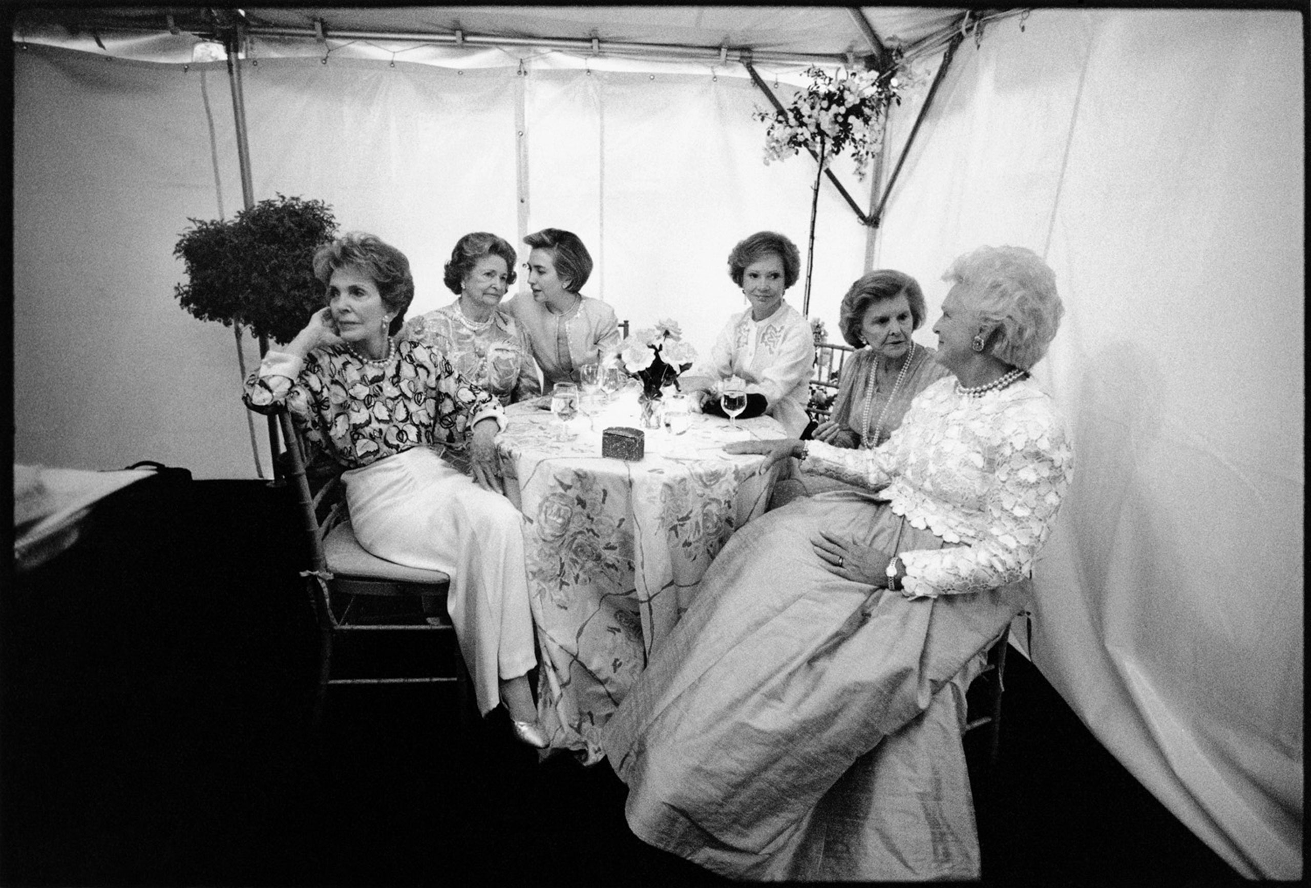 """First Ladies (from left to right) Nancy Reagan, Lady Bird Johnson, Hillary Rodham Clinton, Rosalynn Carter, Betty Ford, and Barbara Bush at the """"National Garden Gala, A Tribute to America's First Ladies"""", May 11, 1994."""