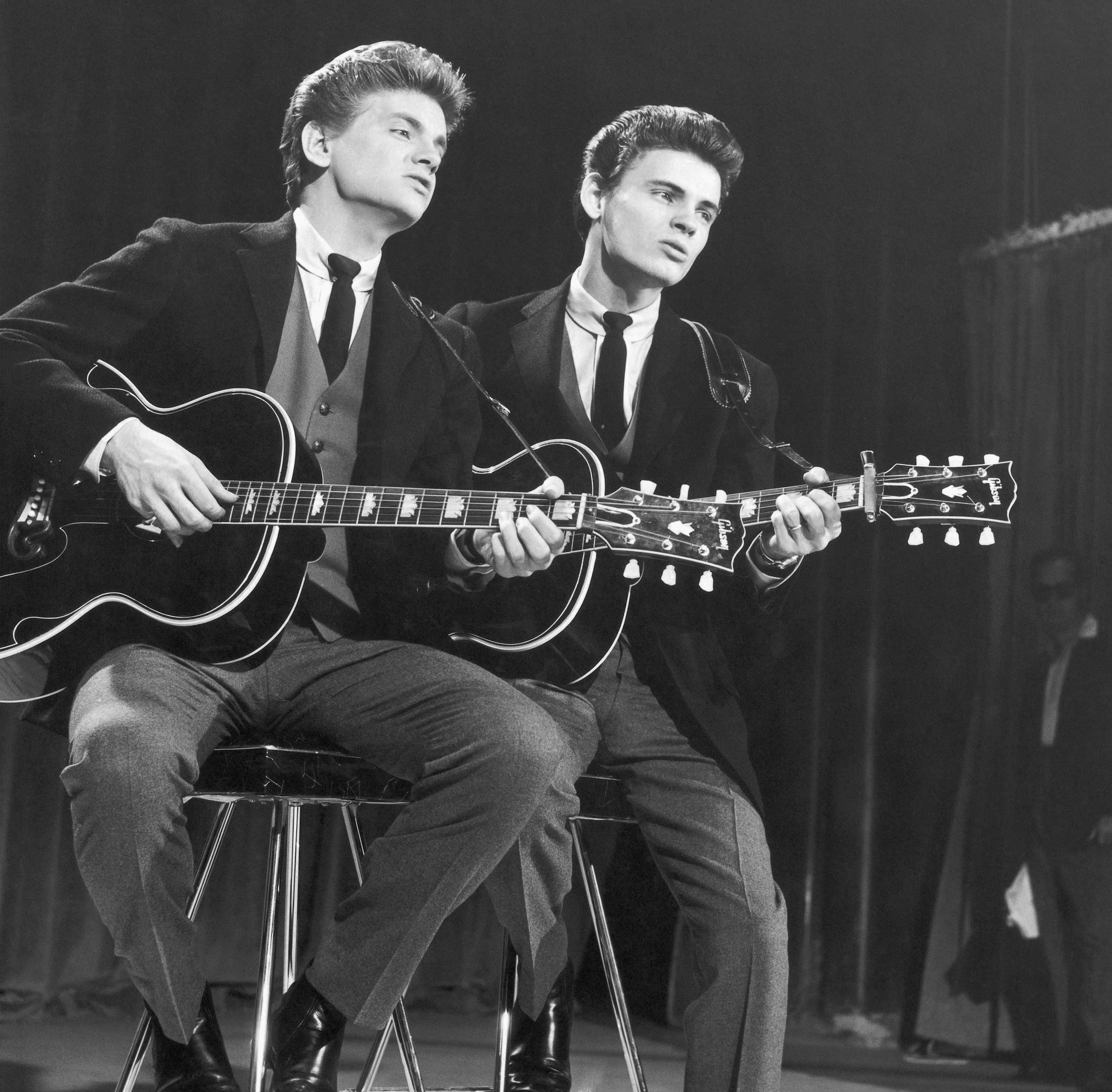 THE EVERLY BROTHERS: Though they harmonized beautifully on stage, Phil (left) and Don Everly quarreled often.