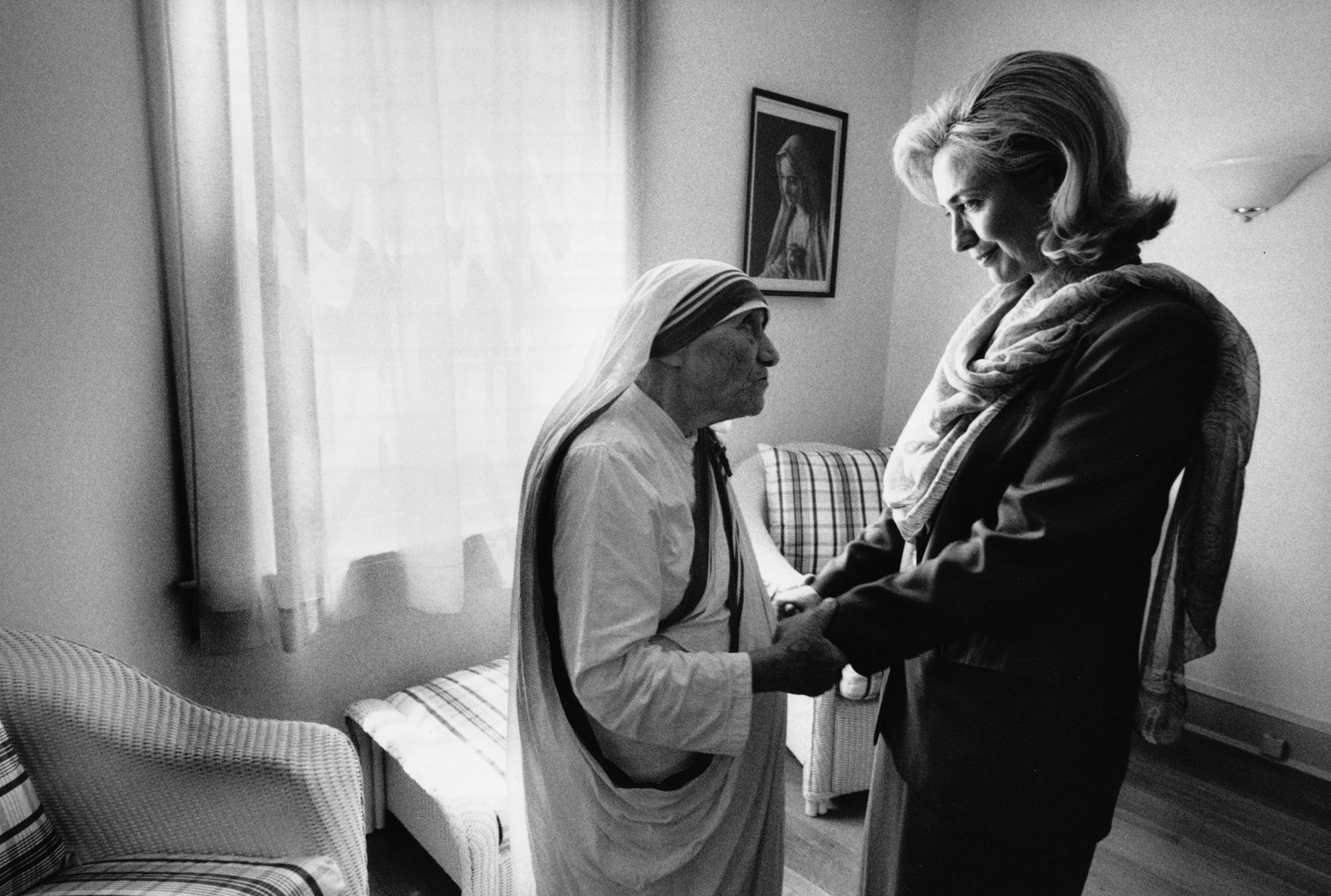 Hillary Rodham Clinton meets with Mother Teresa at the opening of the Mother Teresa Home for Infant Children in Washington, D.C., June 19, 1995.